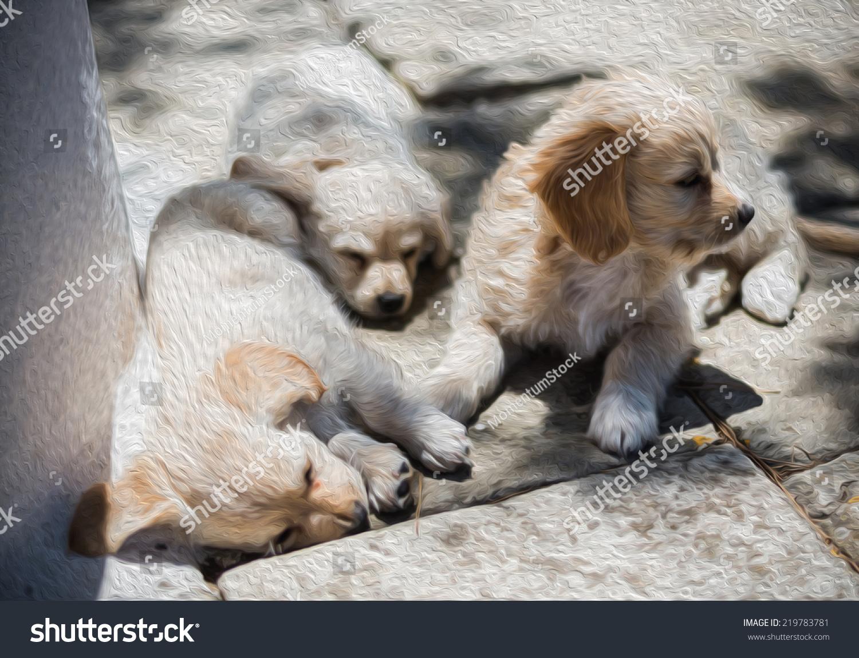 cute puppies sleeping sun cool oil stock illustration 219783781