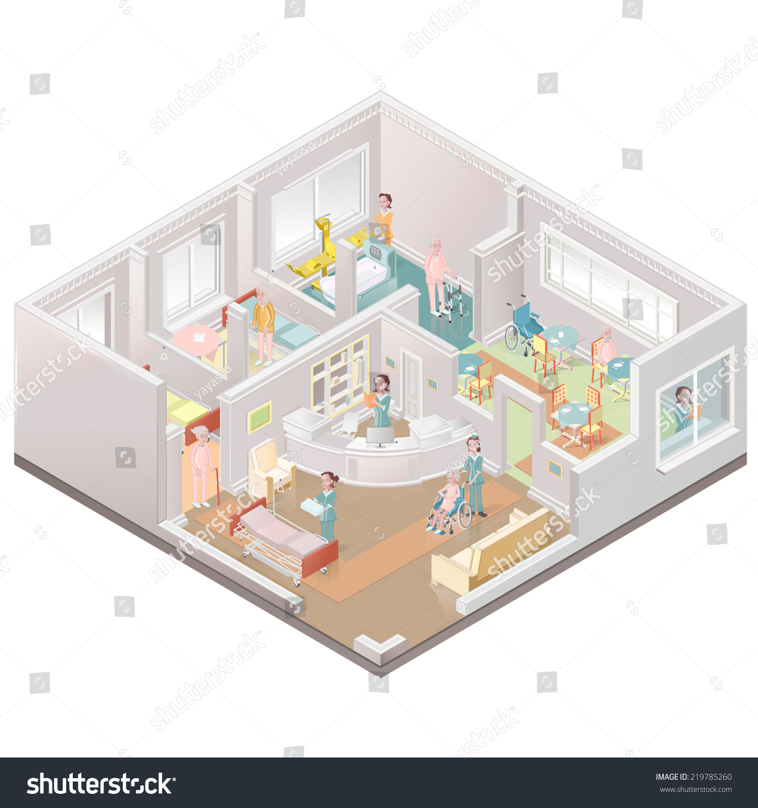 The Nanny Floor Plan Nursing Home Assistedliving Facility Stock Vector