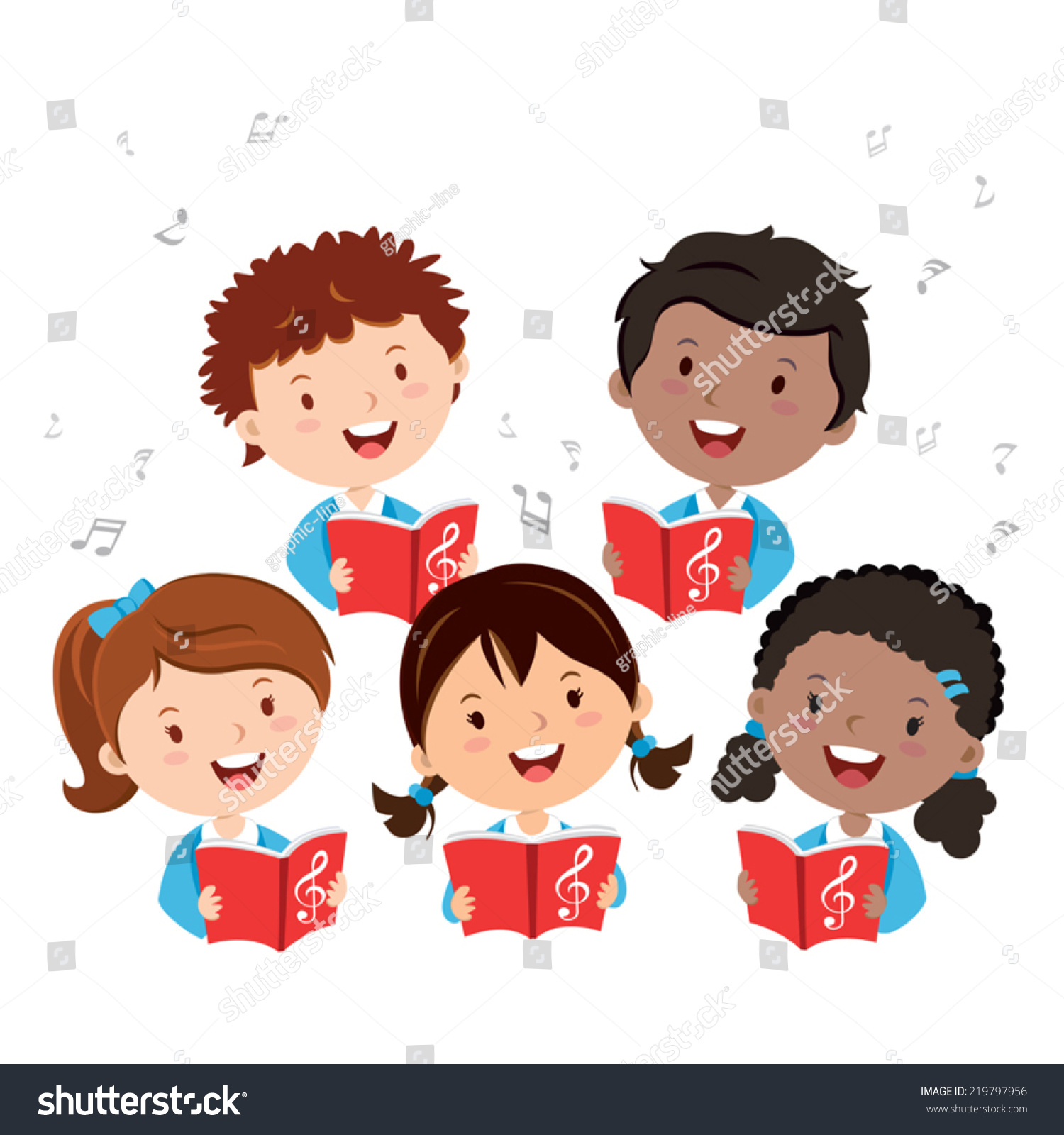 Children Choir Kids Choir Singing Stock Vector 219797956 ...
