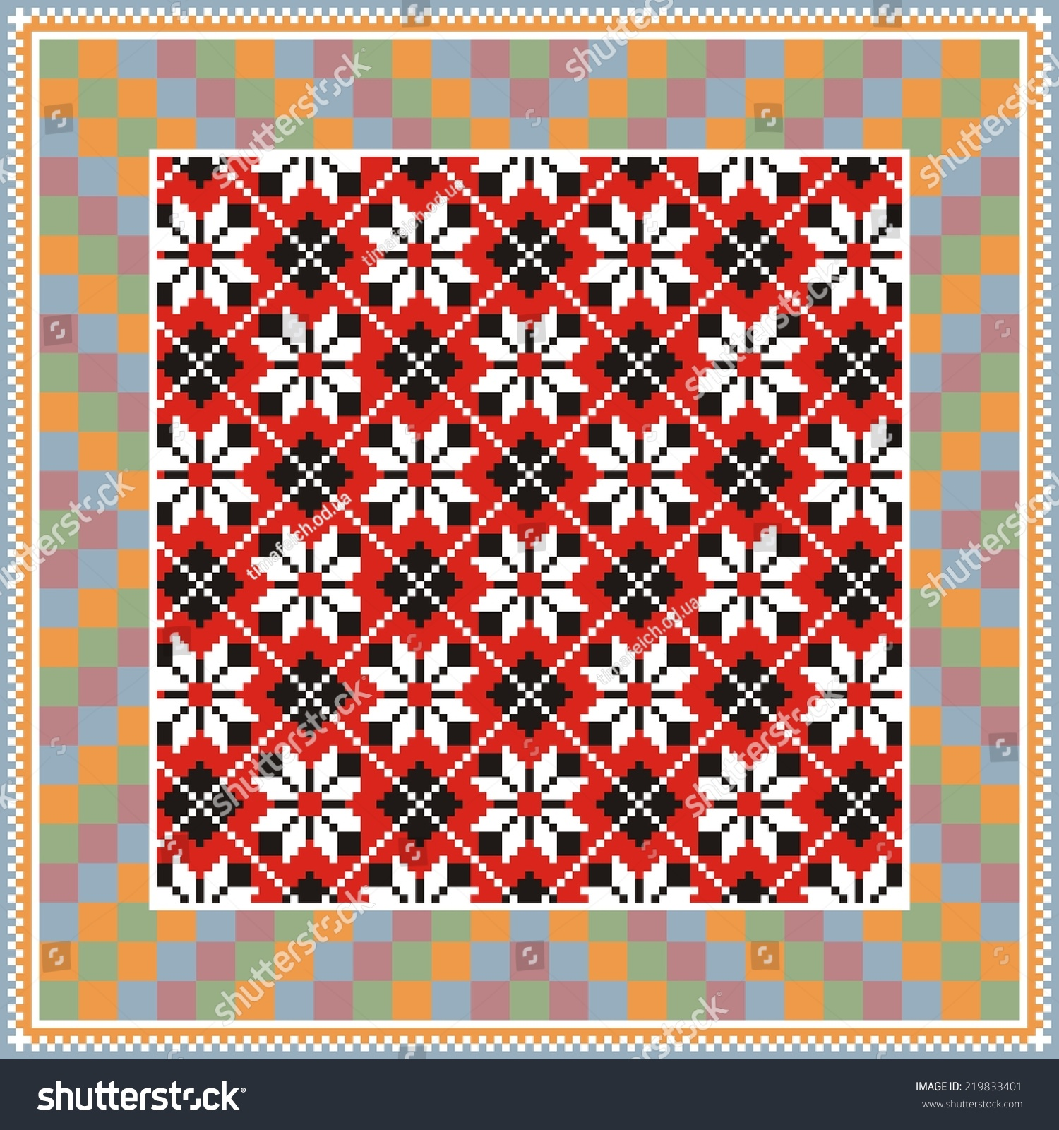 b36cfd7dbfe54 Vector ethnic ornament on the motives of Russian and Ukrainian embroidery  on fabric