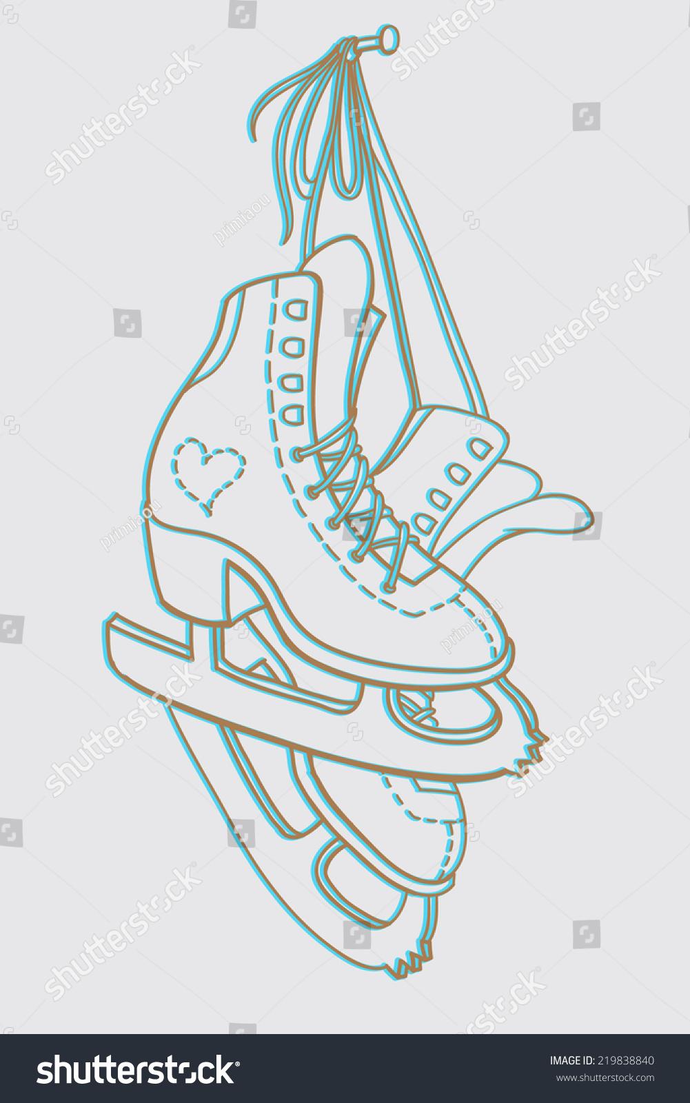Hockey skates hanging drawing