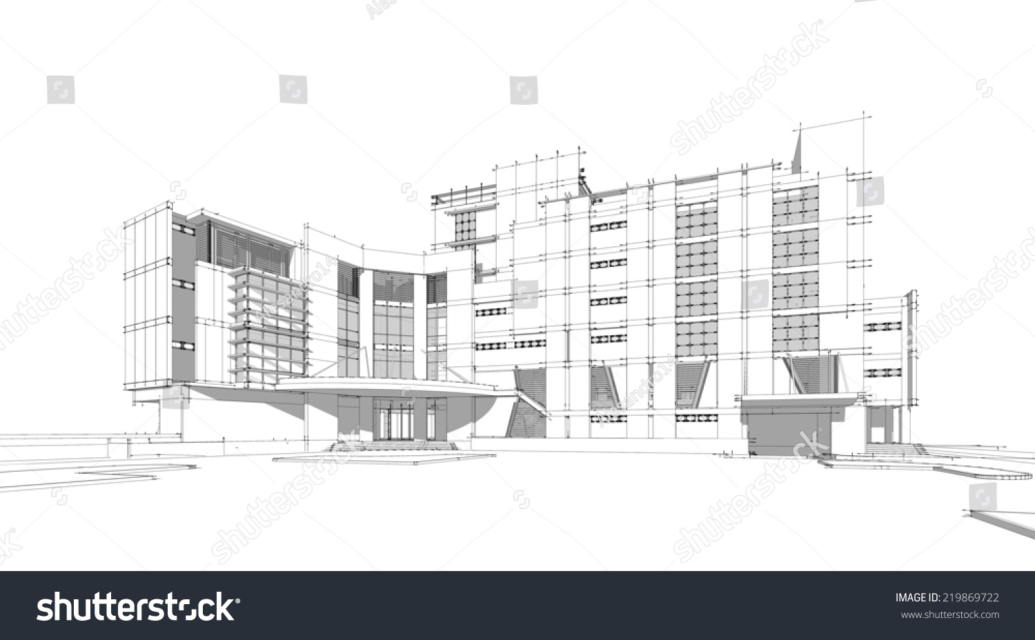 sketch idea perspective building wireframe vector stock illustration