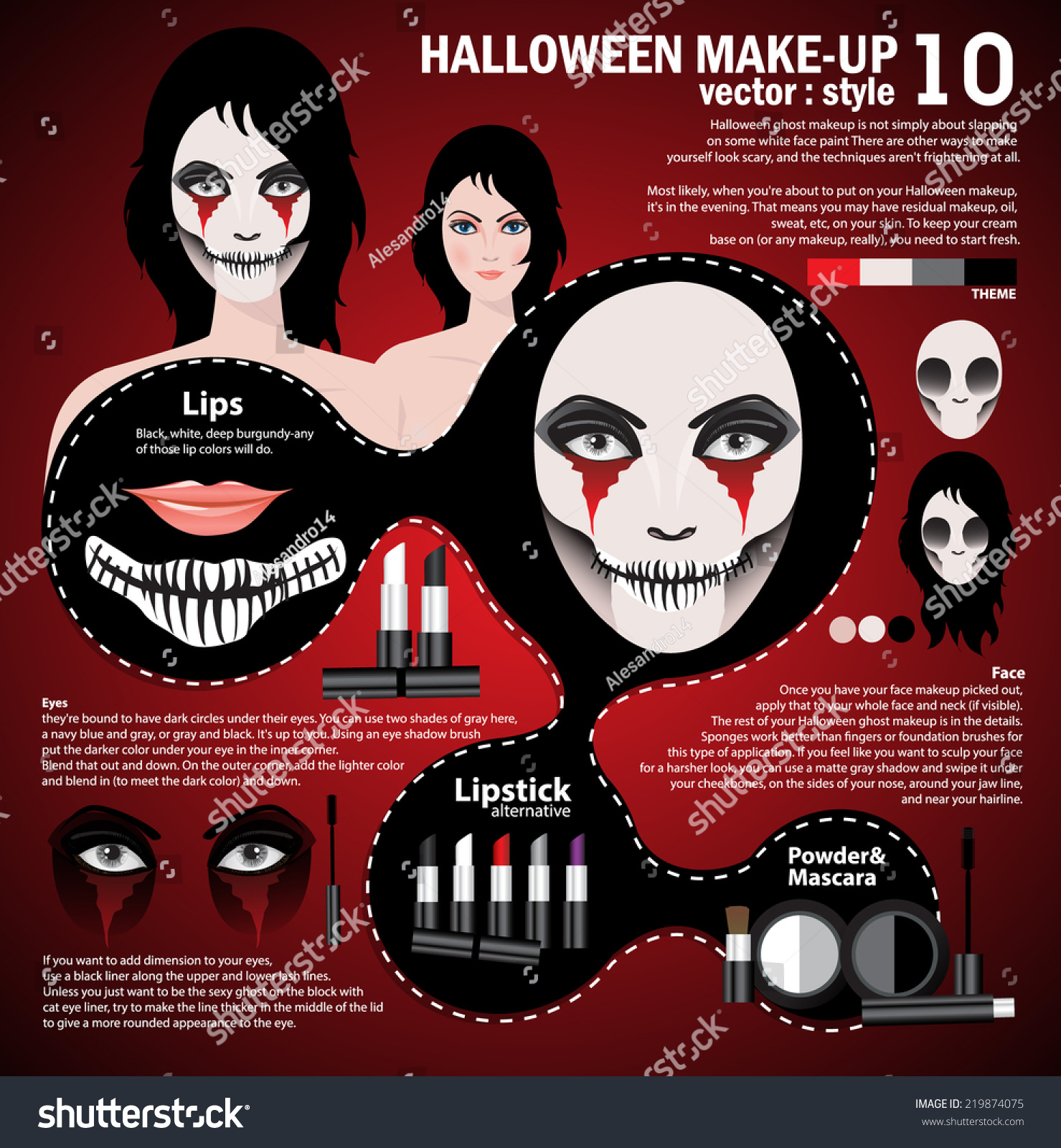 Infographic Halloween Make Upwoman Day Dead Stock Vector 219874075 ...