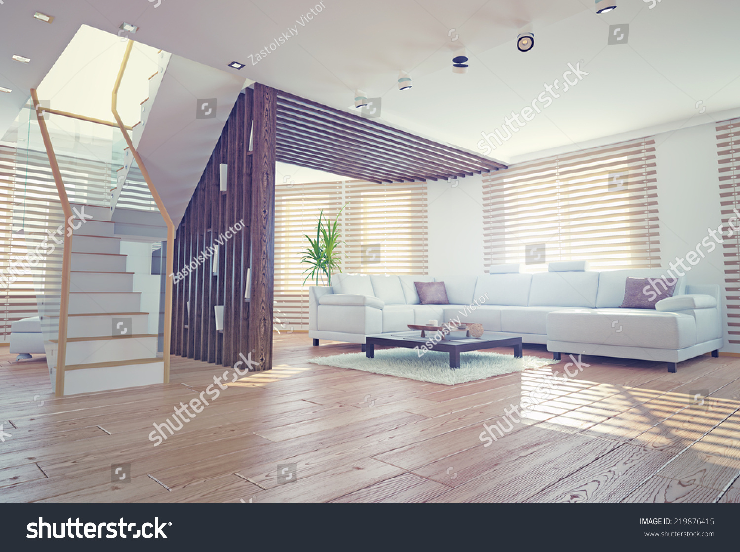 Modern Living Room Interior Contemporary Design Stock