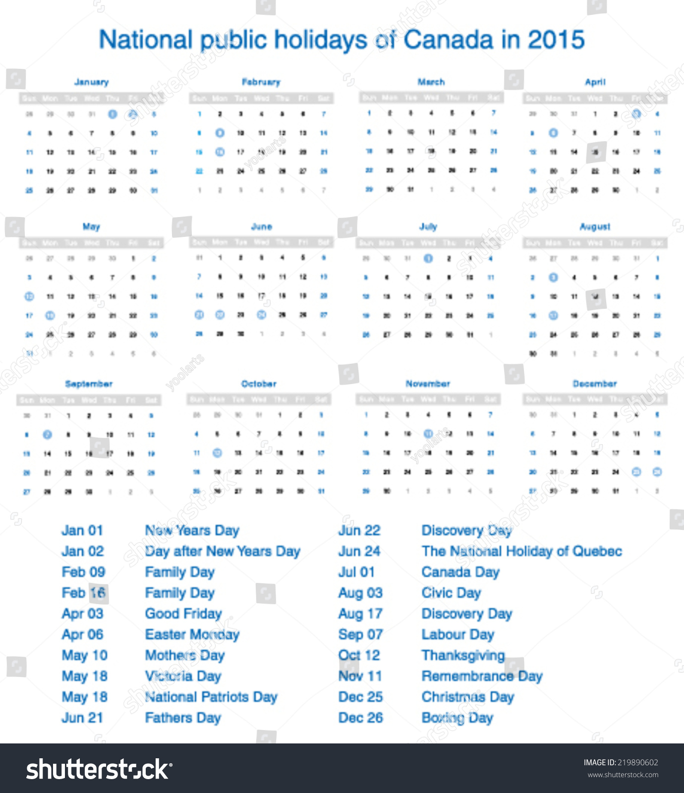 Vector national public holidays of canada in 2015 for 2015 calendar template with canadian holidays