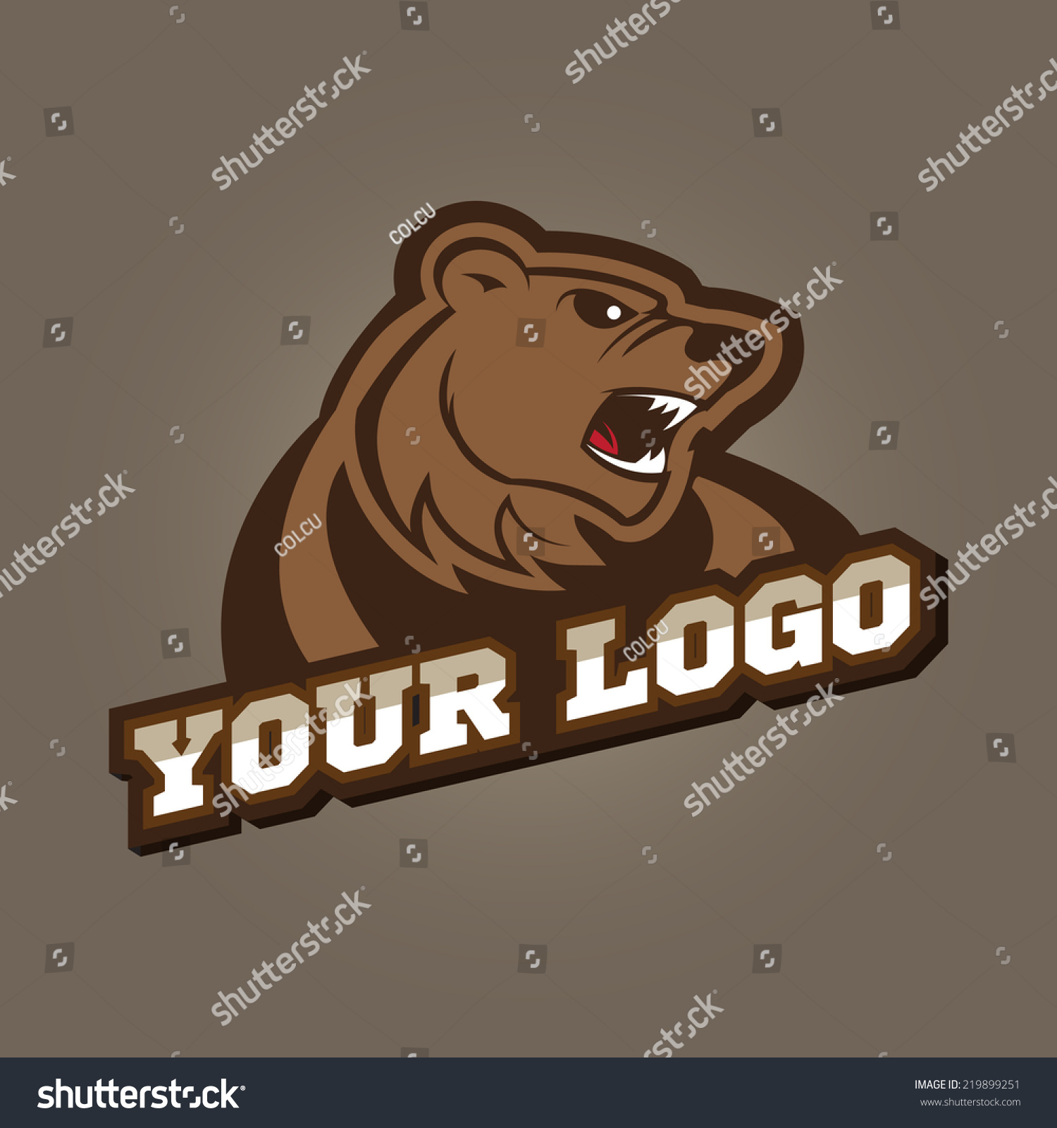Grizzly Mascot Team Logo Design Angry Stock Vector