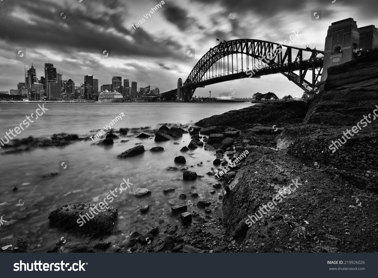 Australia sydney city landmarks harbor bridge stock photo australia sydney city landmarks harbor bridge and cbd at sunset with blurred clouds low tide wet nvjuhfo Gallery