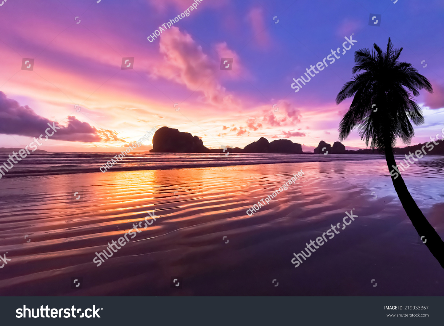 Pink Sand With Sunlight Over Island Sunset Background Pak Meng Beach Trang Thailand