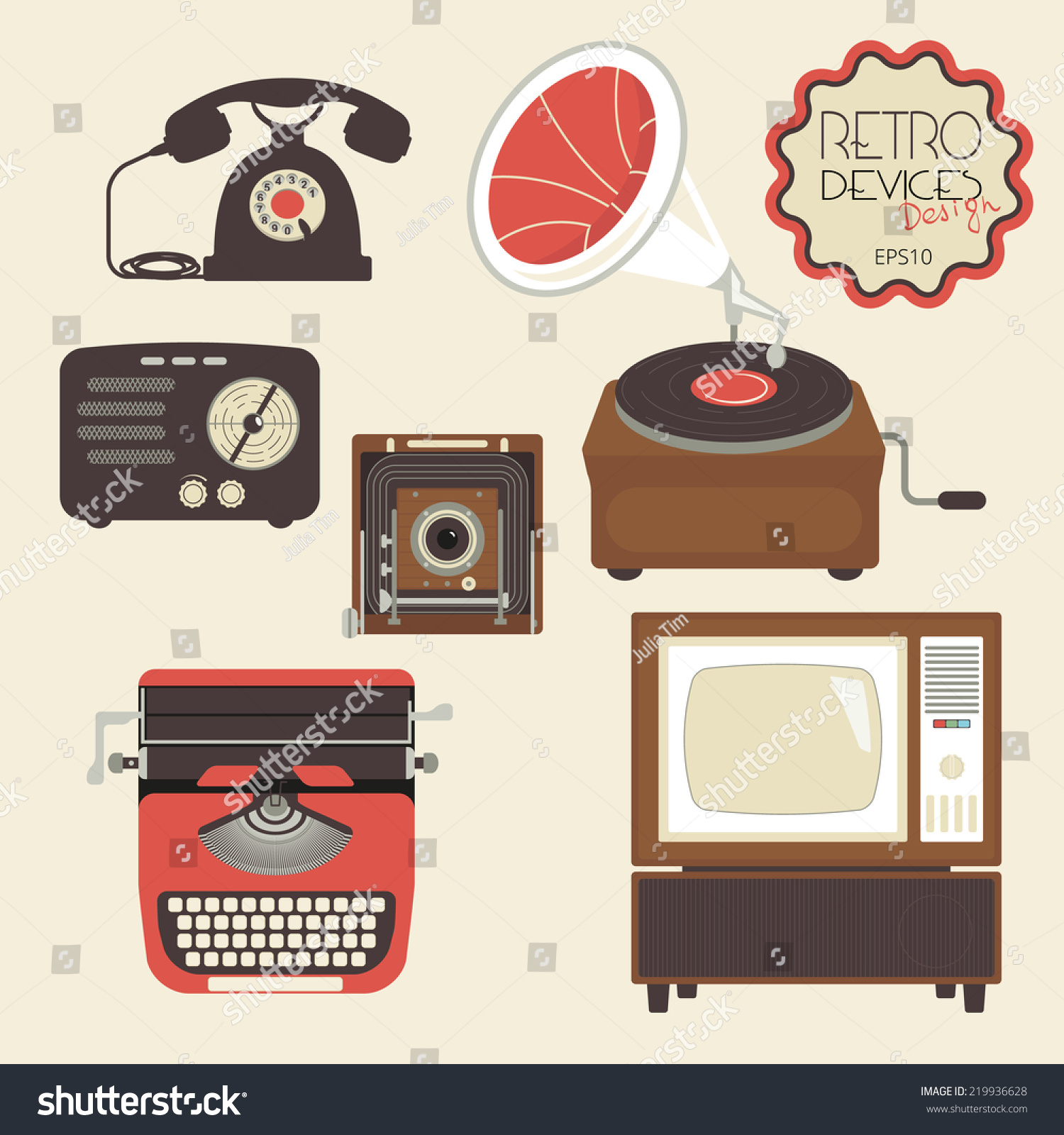 Retro devices collection tv radio gamepad stock vector - Mobile tv vintage ...