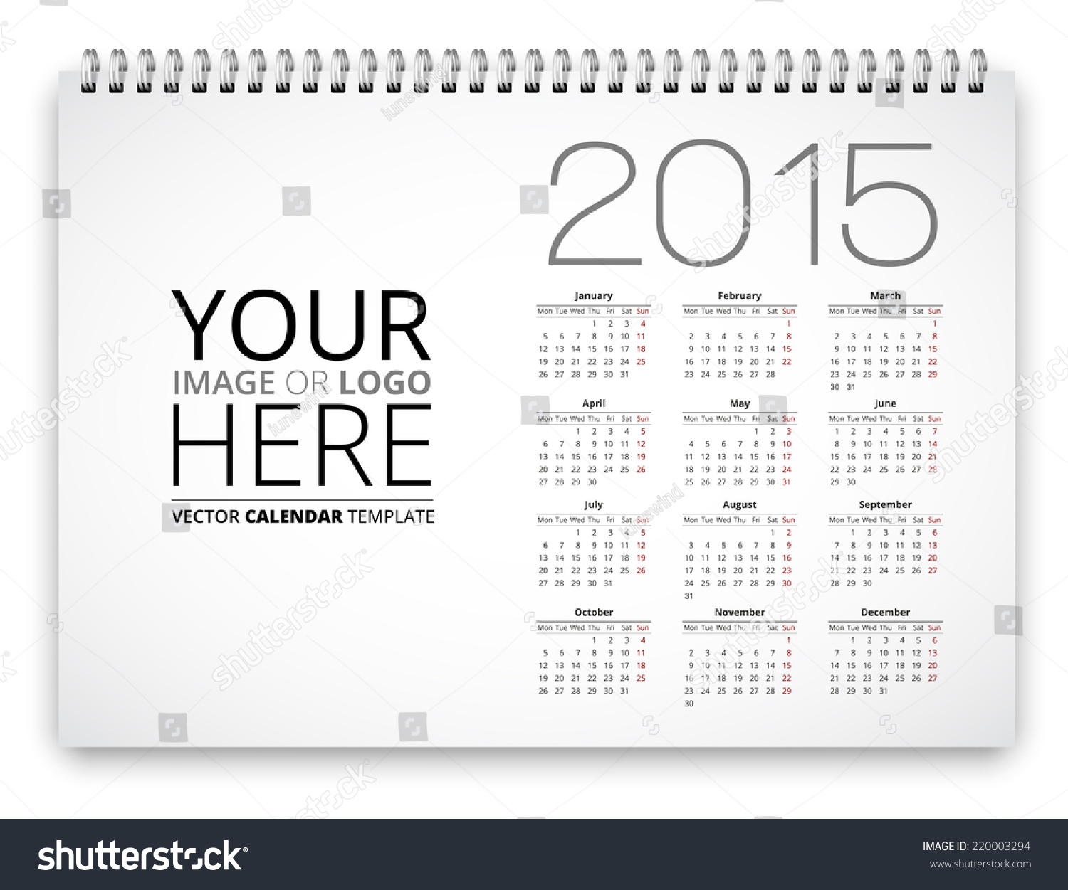Poster Proportion Calendar Template 2015 Years Stock Vector Royalty
