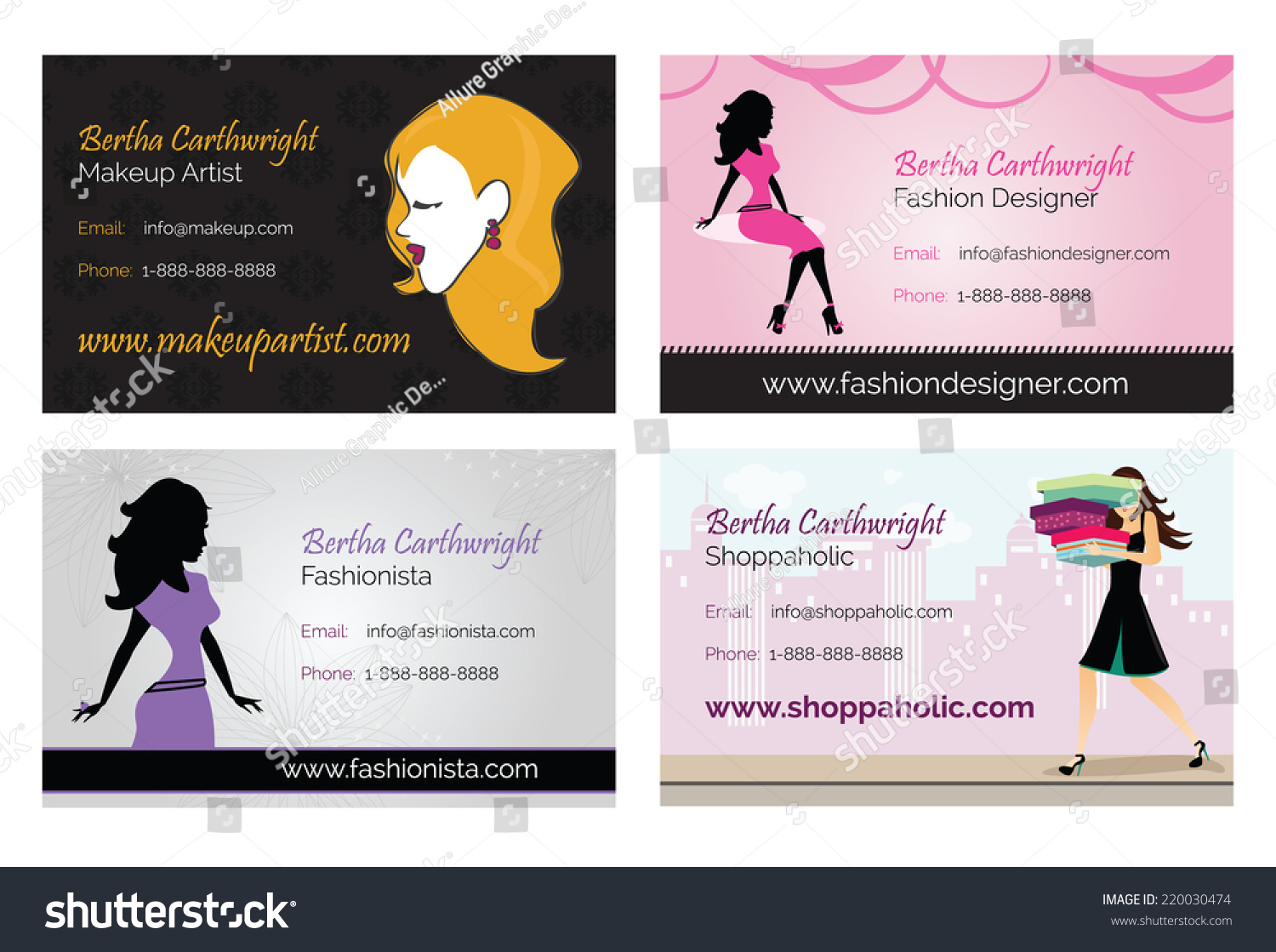 Fashion Women Business Cards Stock Vector 220030474 - Shutterstock