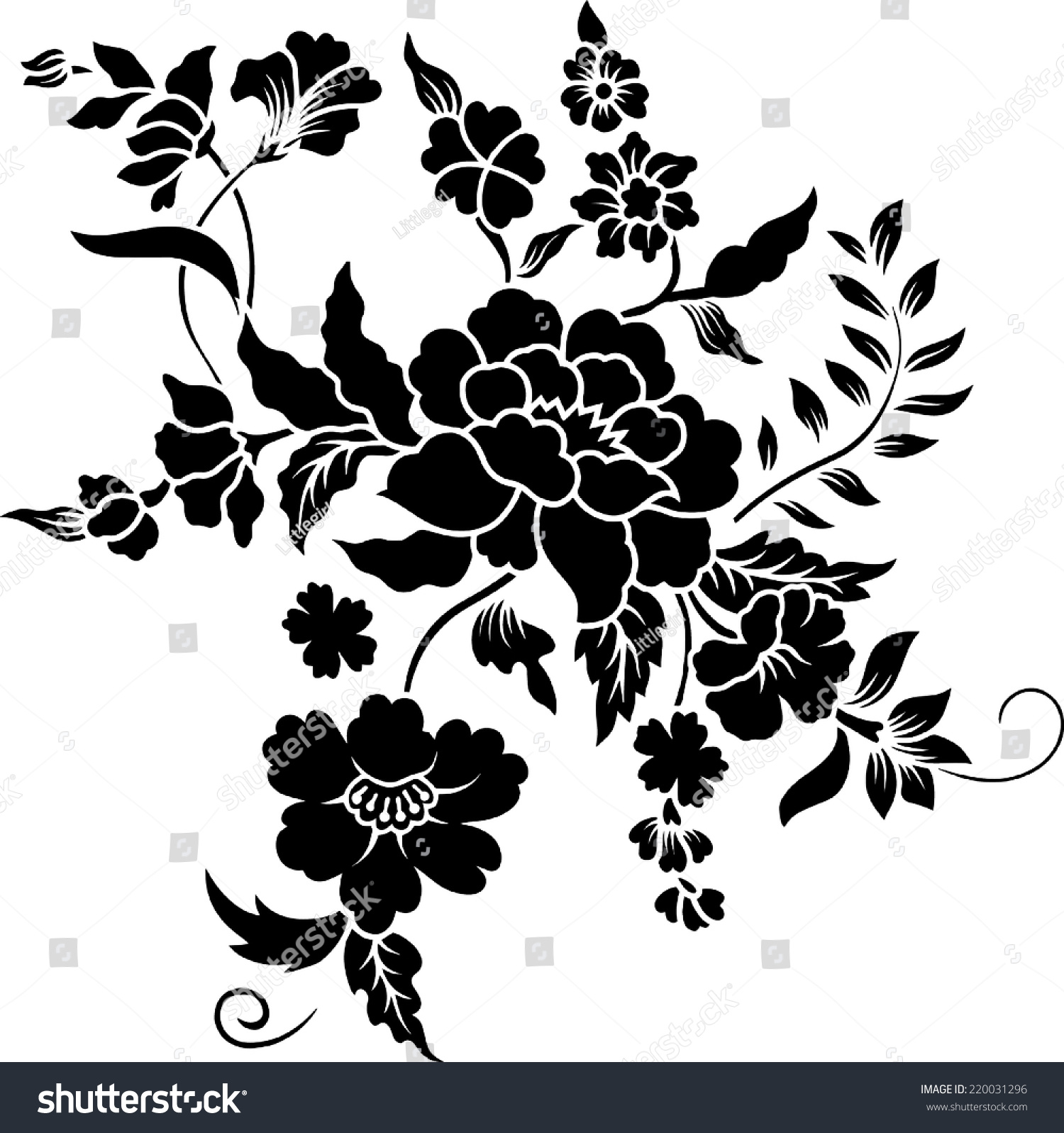 Flower Batik Stock Vector 220031296