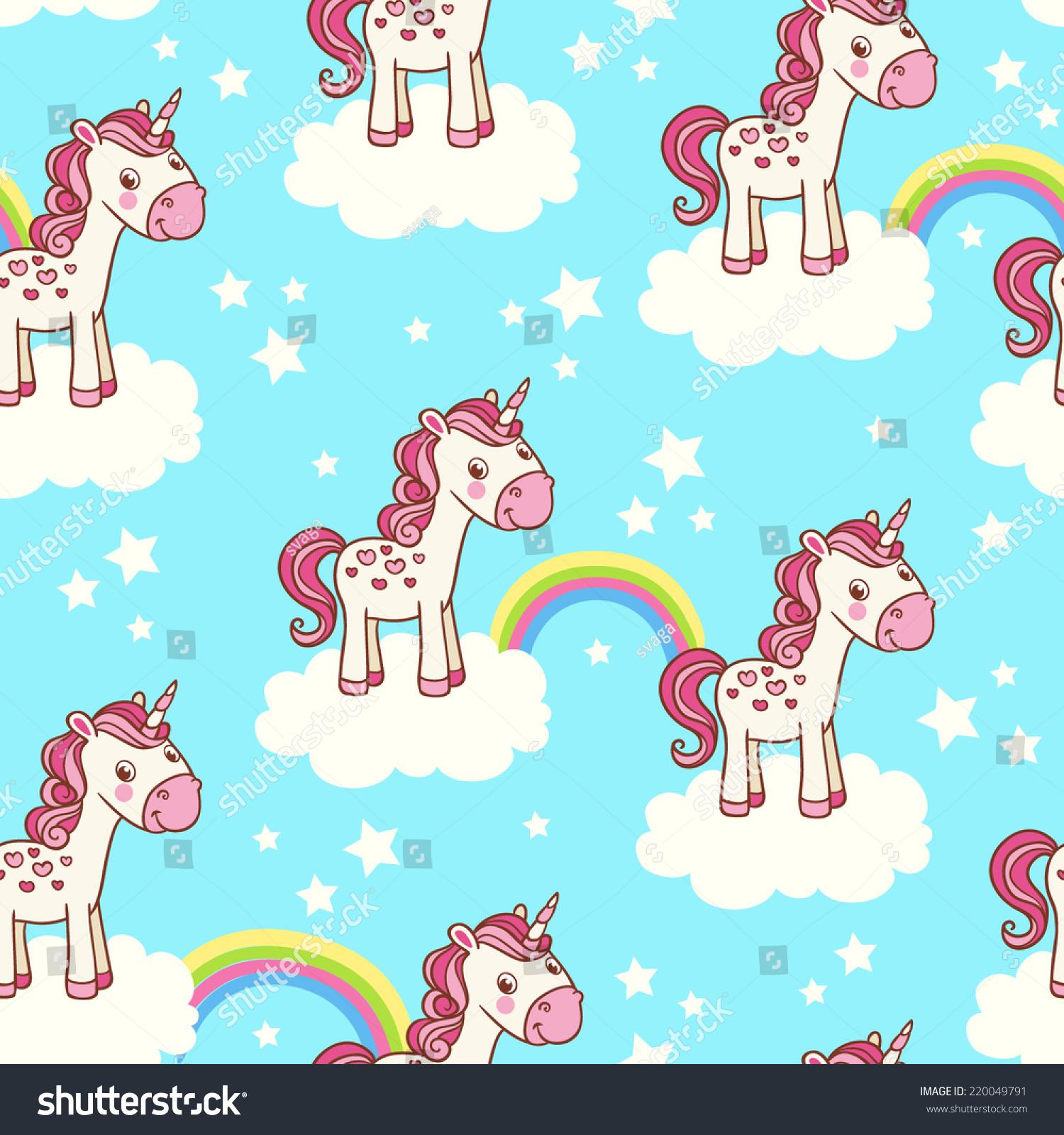 Cute Seamless Pattern Unicorn Clouds Star Stock Vector ...