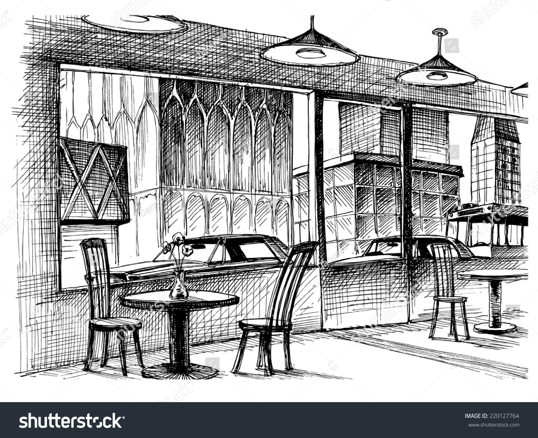 Restaurant interior vector sketch city street stock