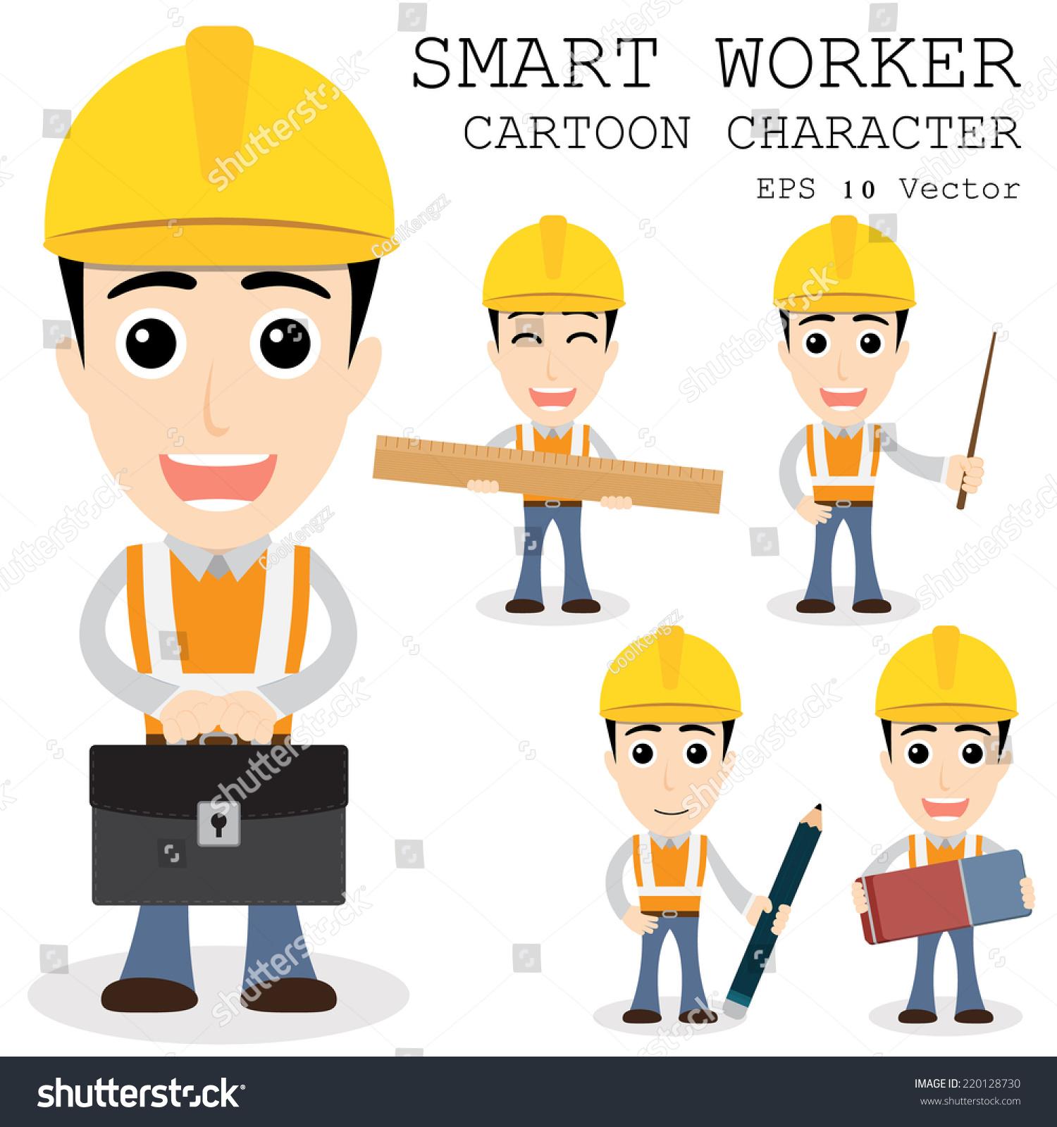 smart worker cartoon character eps stock vector  smart worker cartoon character eps 10 vector illustration