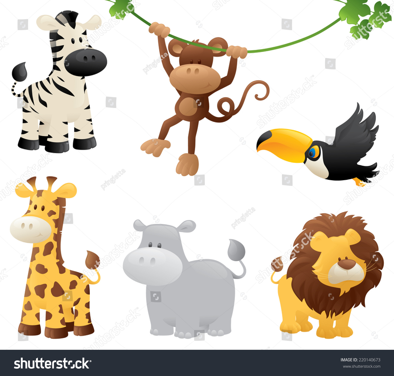 Six Jungle Animals Stock Vector 220140673