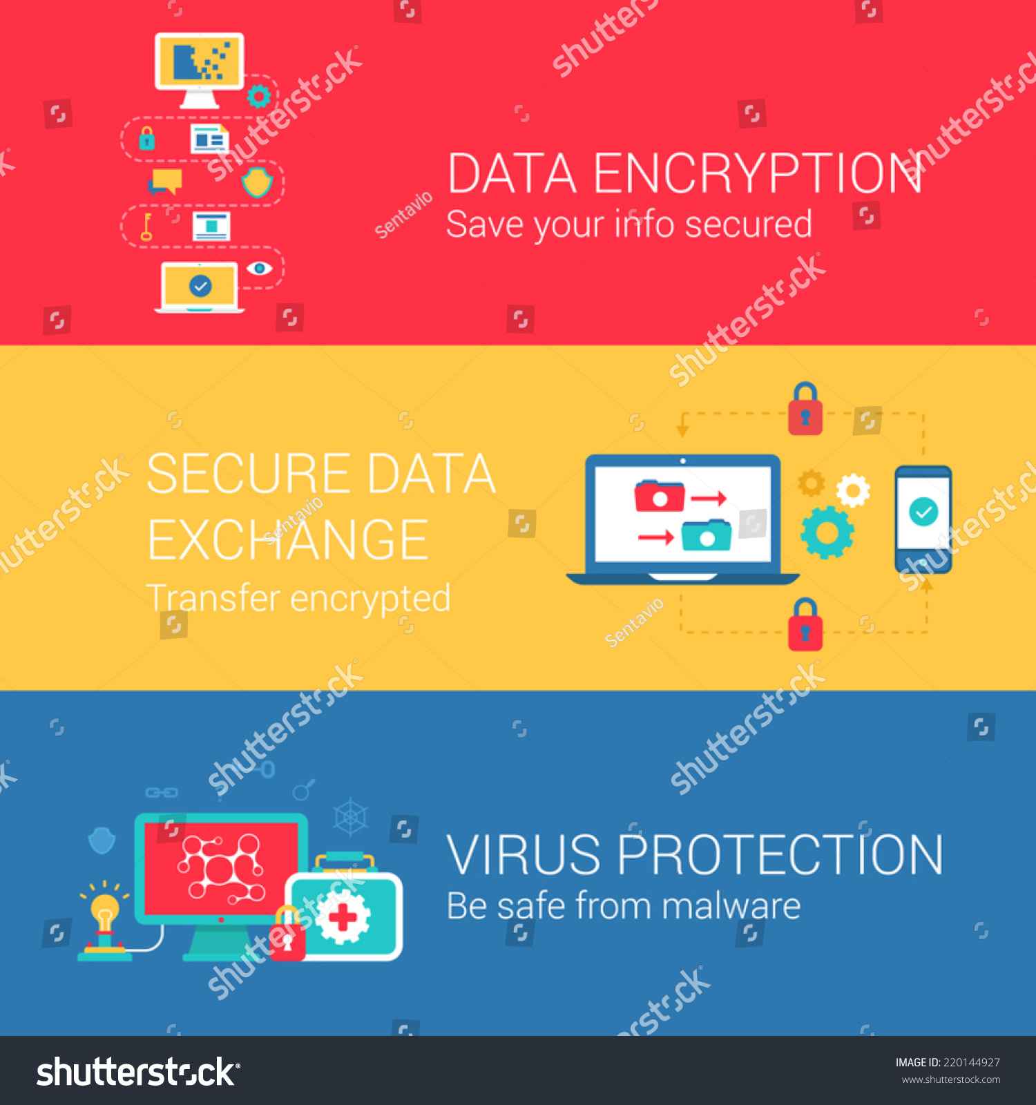 Security Encryption: Data Security Encryption Concept Flat Icons Stock Vector