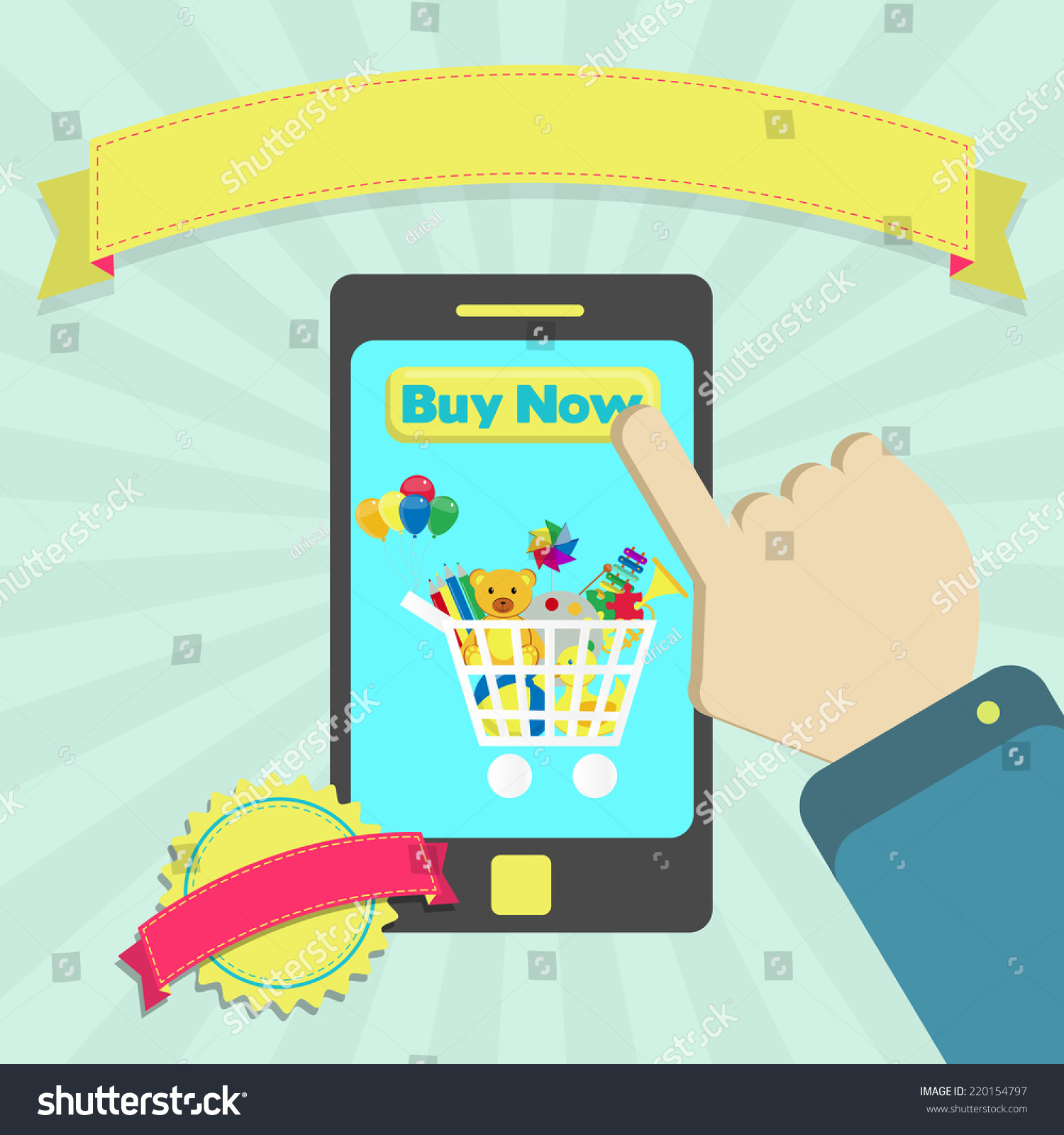 Buy Toys line Through Phone Buy Stock Vector