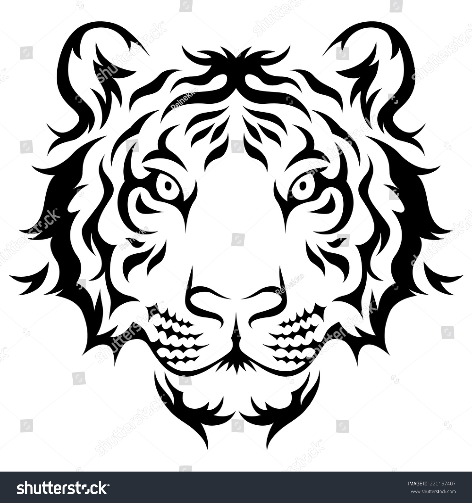 Tribal-Tattoos stock-vector-tigers-head-tribal-tattoo-design-black-isolated-on-white-220157407
