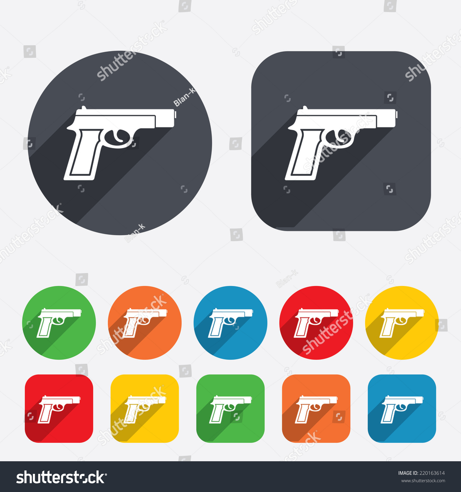Gun sign icon firearms weapon symbol stock vector 220163614 gun sign icon firearms weapon symbol circles and rounded squares 12 buttons vector biocorpaavc