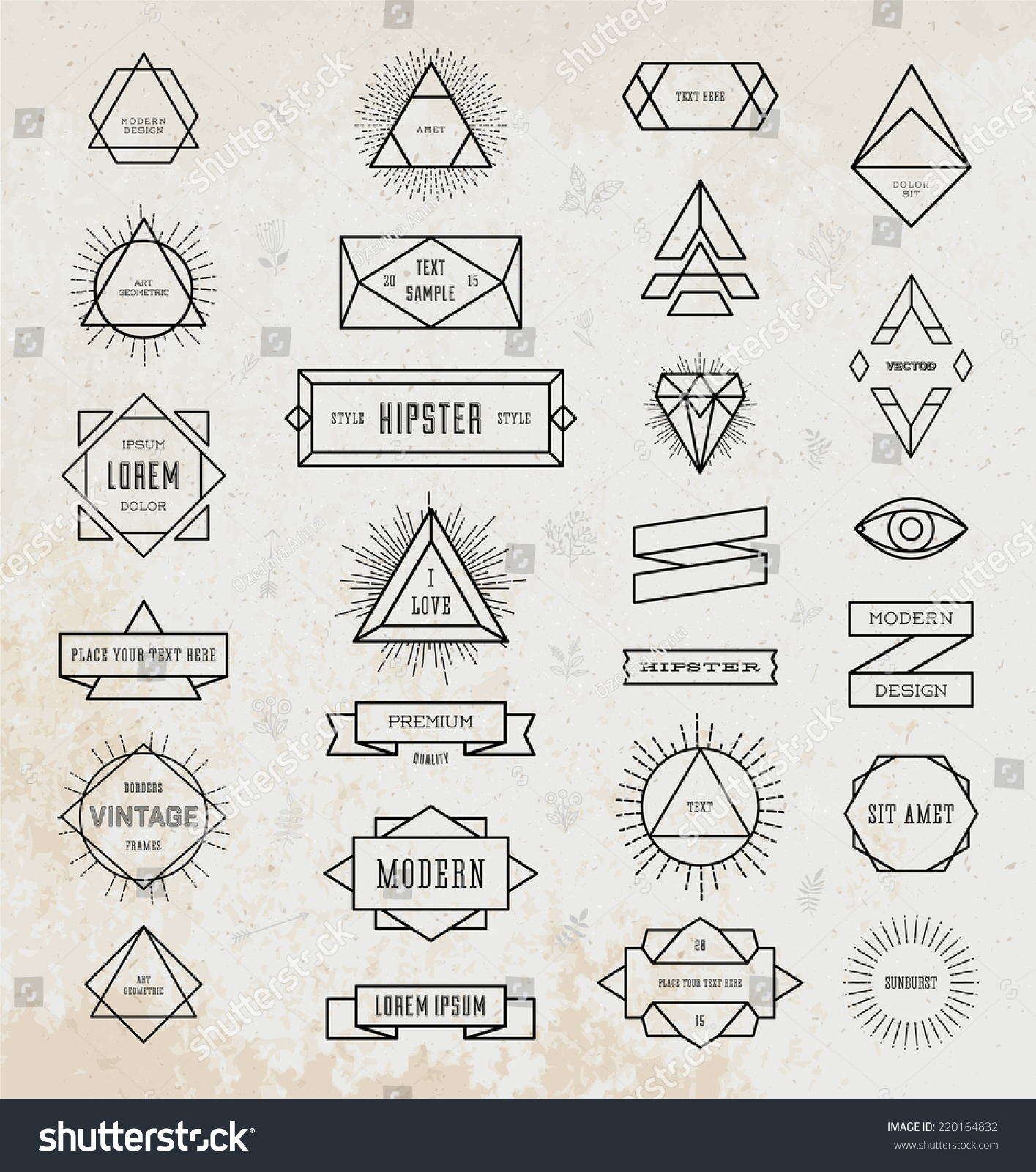 Set vintage hipster labels retro borders stock vector 220164832 set vintage hipster labels retro borders stock vector 220164832 shutterstock sciox Choice Image