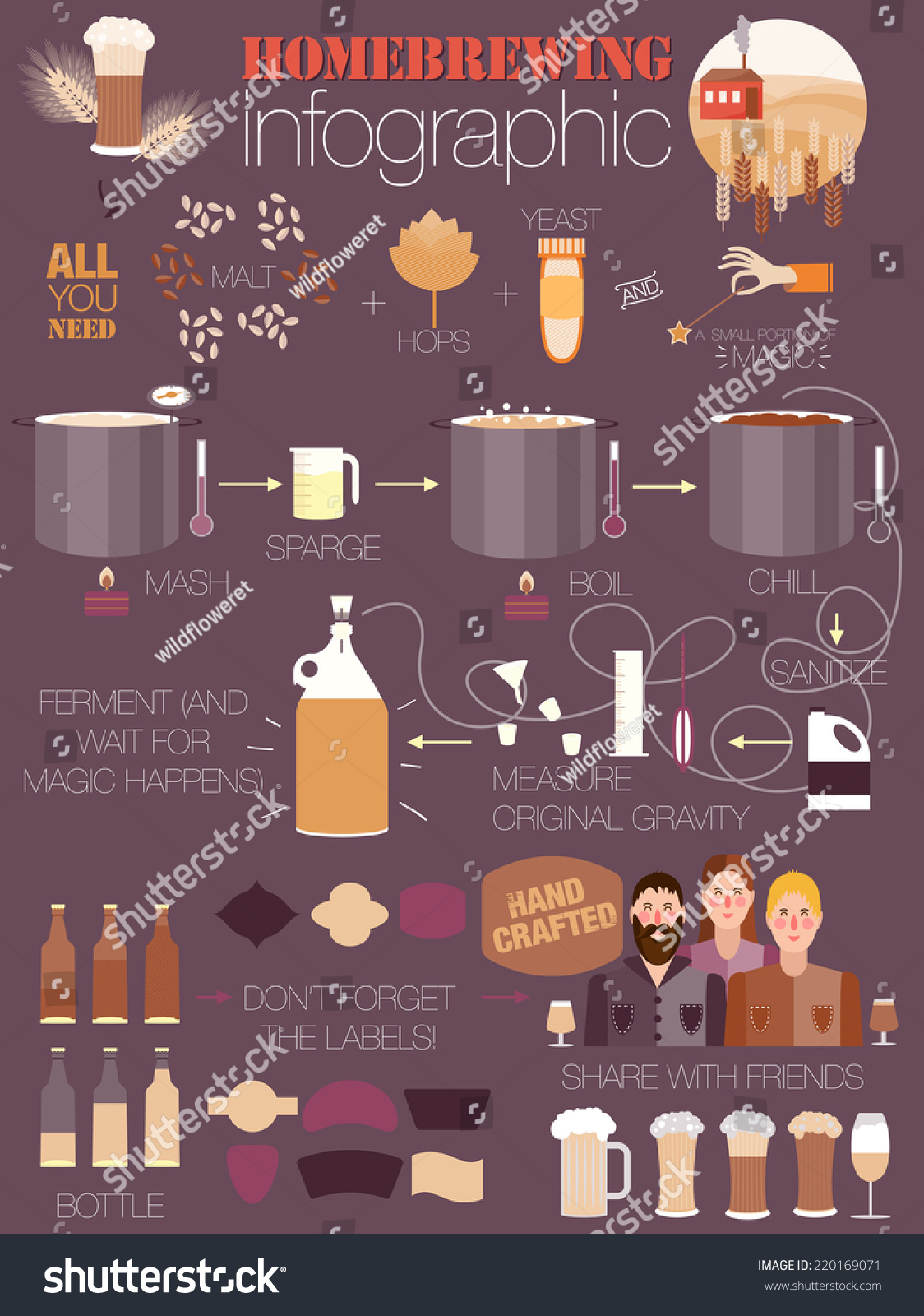 The Set Of Beer Info Graphics For Your Design Home Brewing Crafted Beer