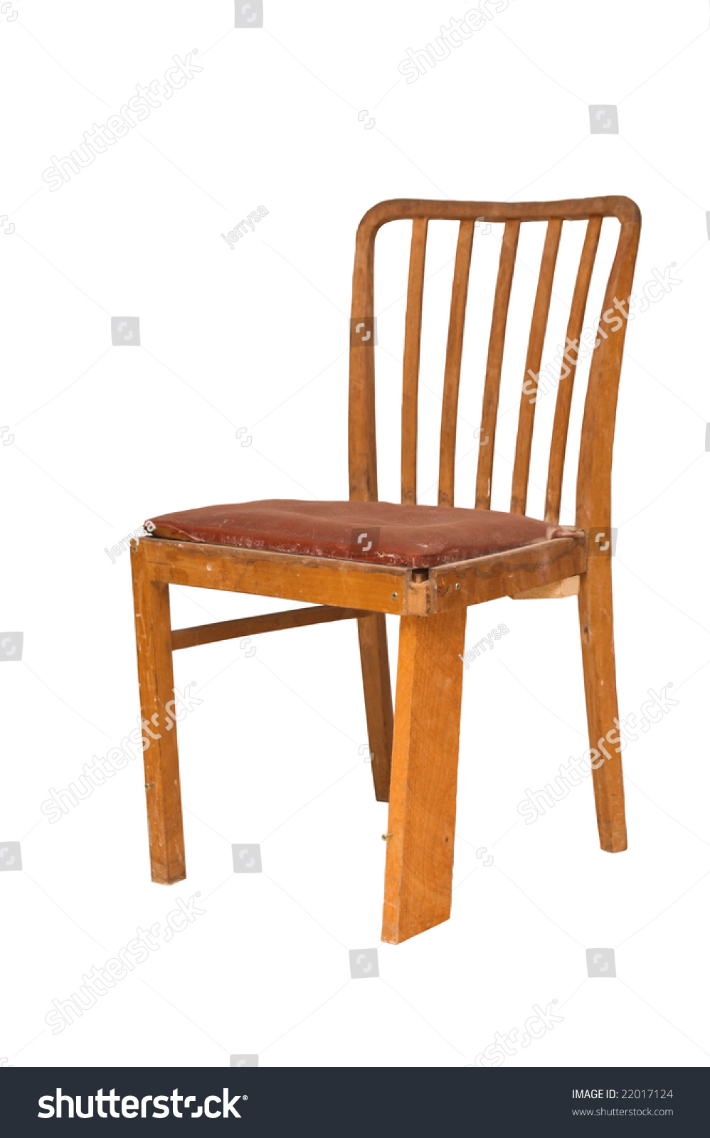 An Old Broken Wooden Chair Is On White