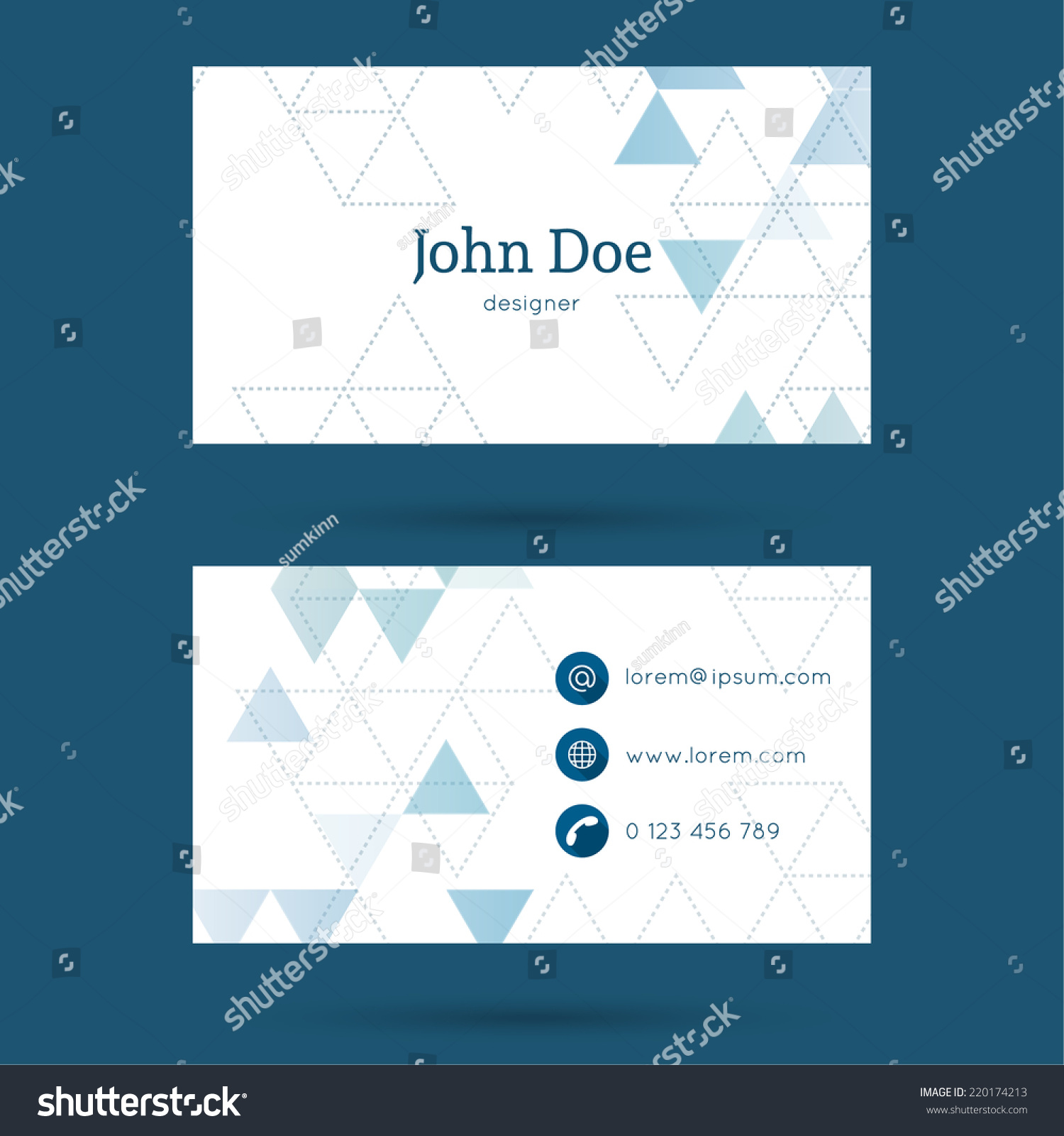 business card visiting card template triangular stock vector