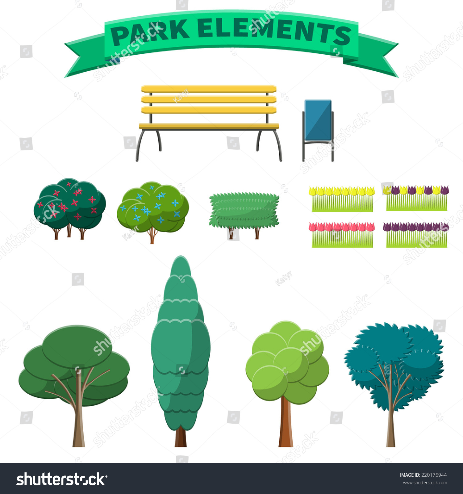 Garden Stock Image Image Of Design: Vector Illustration Park Elements Design Website Stock