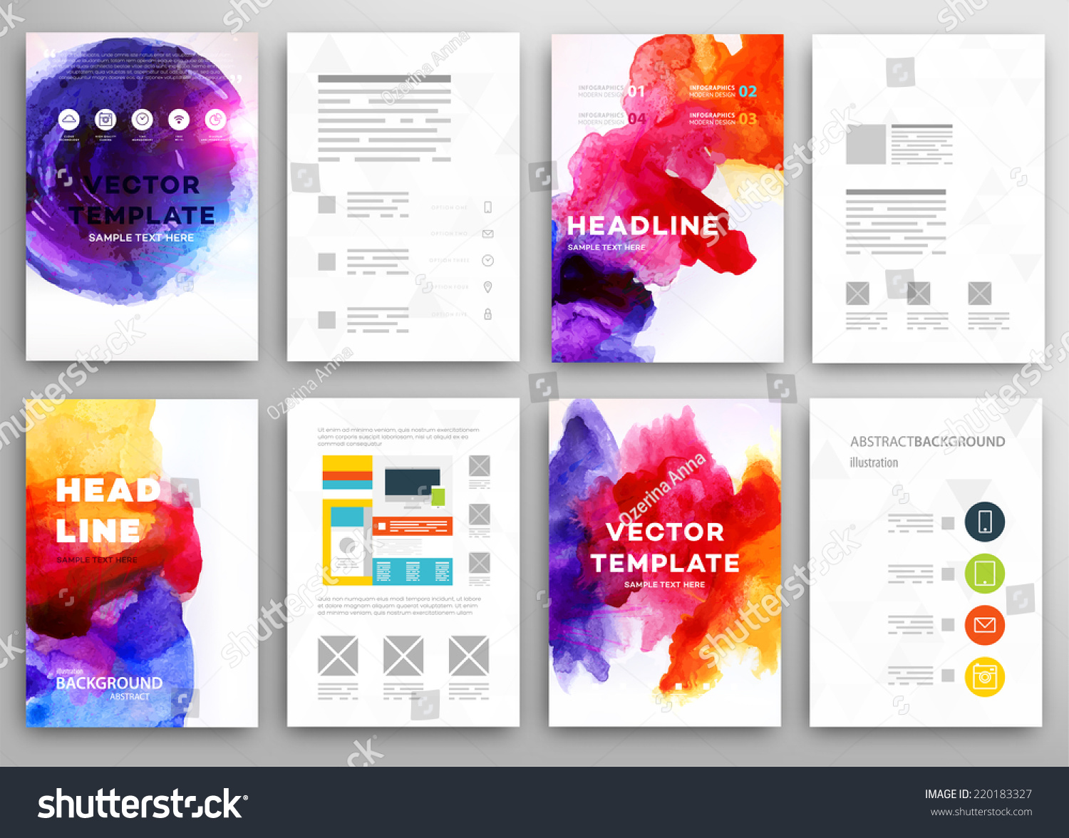 Set of vector poster templates with watercolor paint for Watercolor painting templates free