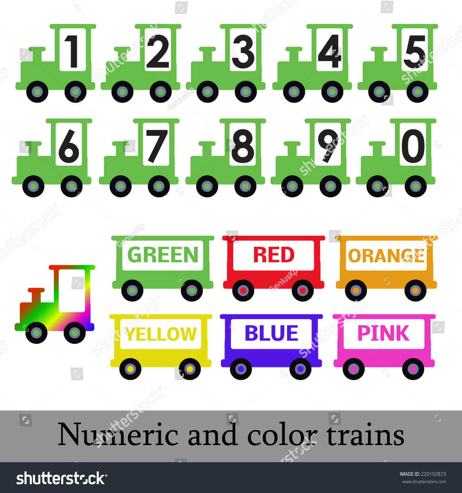 Colored Vector Trains Numbers Color Preschool Stock Vector 220192873 ...