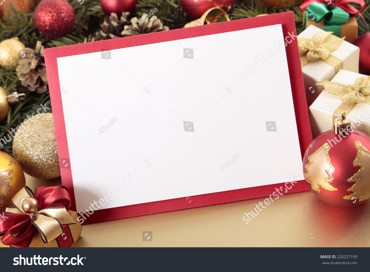 Blank Christmas Card Invitation Red Envelope Stock Photo (Edit Now ...