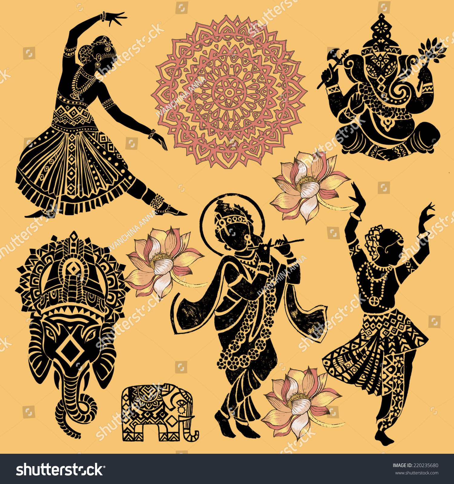 set ornamental indian elements symbolsganeshaindian woman stock vector 220235680 shutterstock. Black Bedroom Furniture Sets. Home Design Ideas