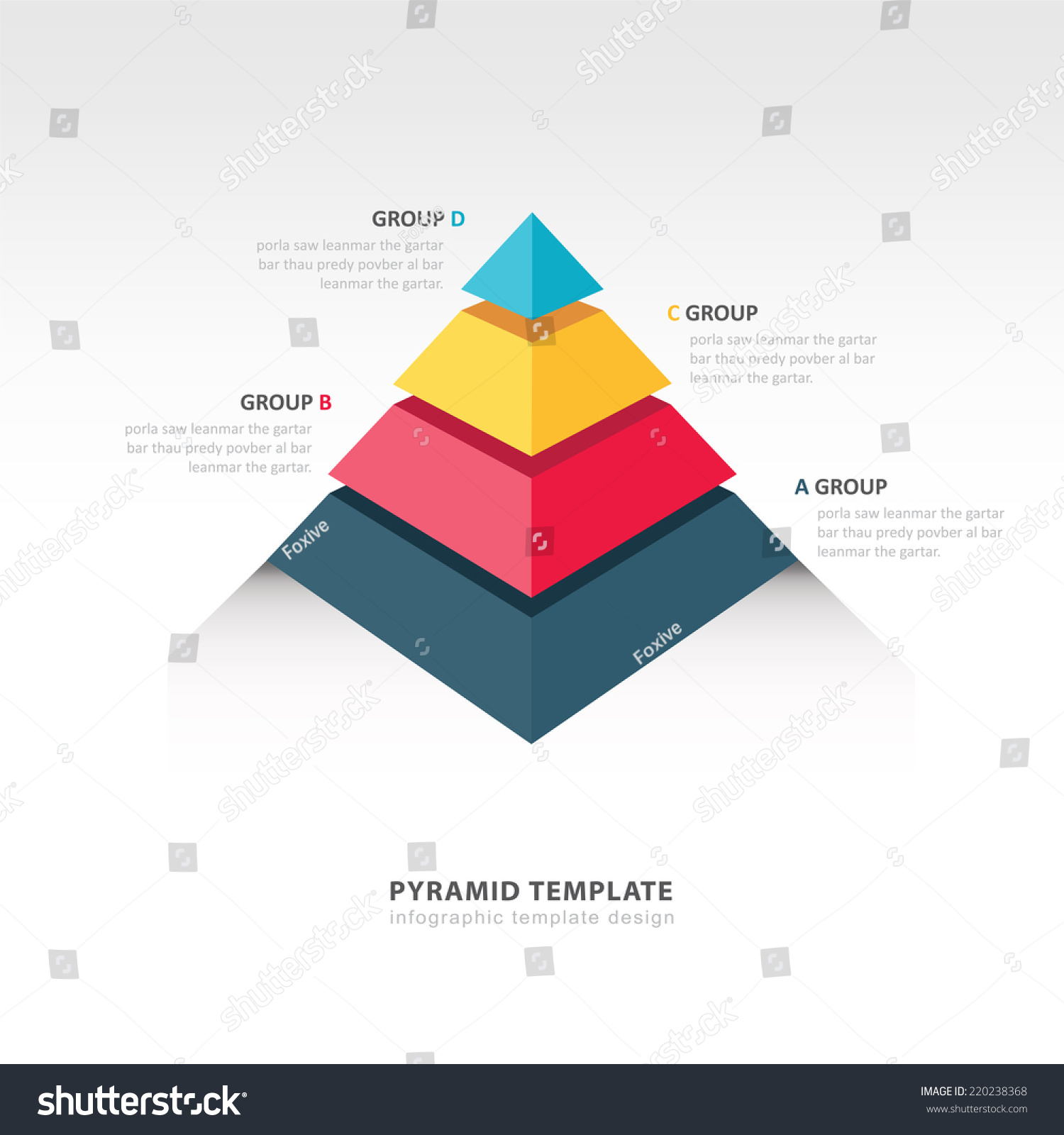 pyramid infographic template のベクター画像素材 ロイヤリティフリー