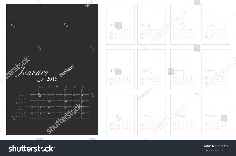 Calendar Graphic Template : Calendar template vector graphic artwork stock