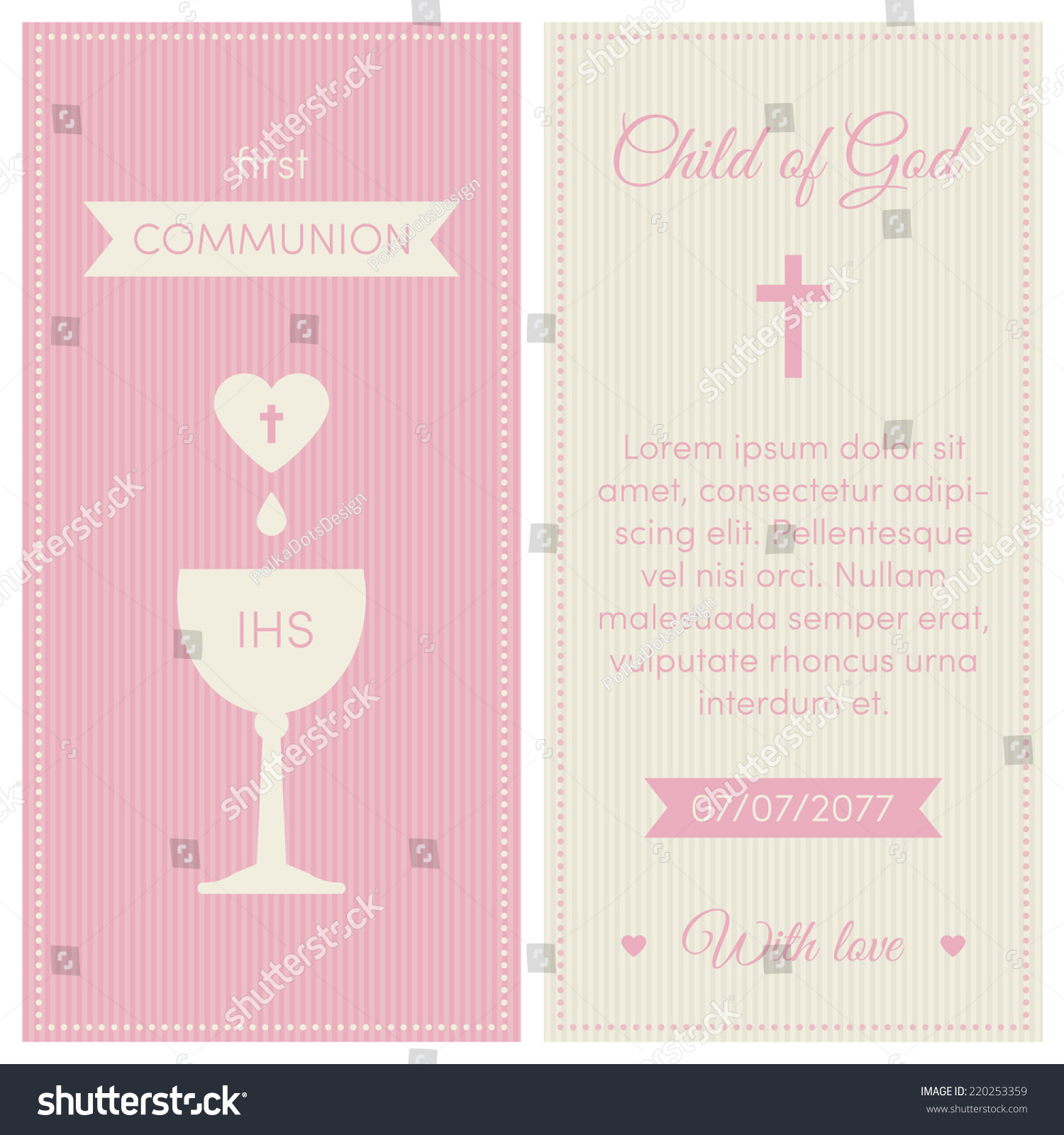 first communion invitation template pink and cream colors illustration of chalice with wine