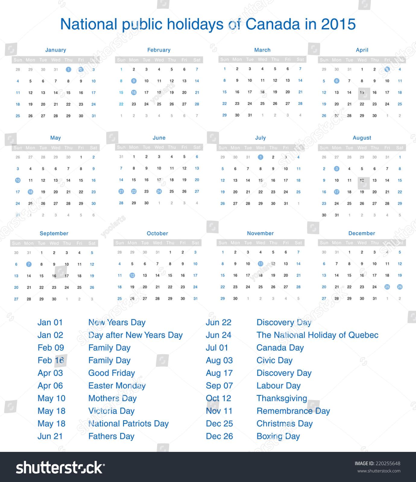 National Public Holidays Canada 2015 Template Stock Illustration