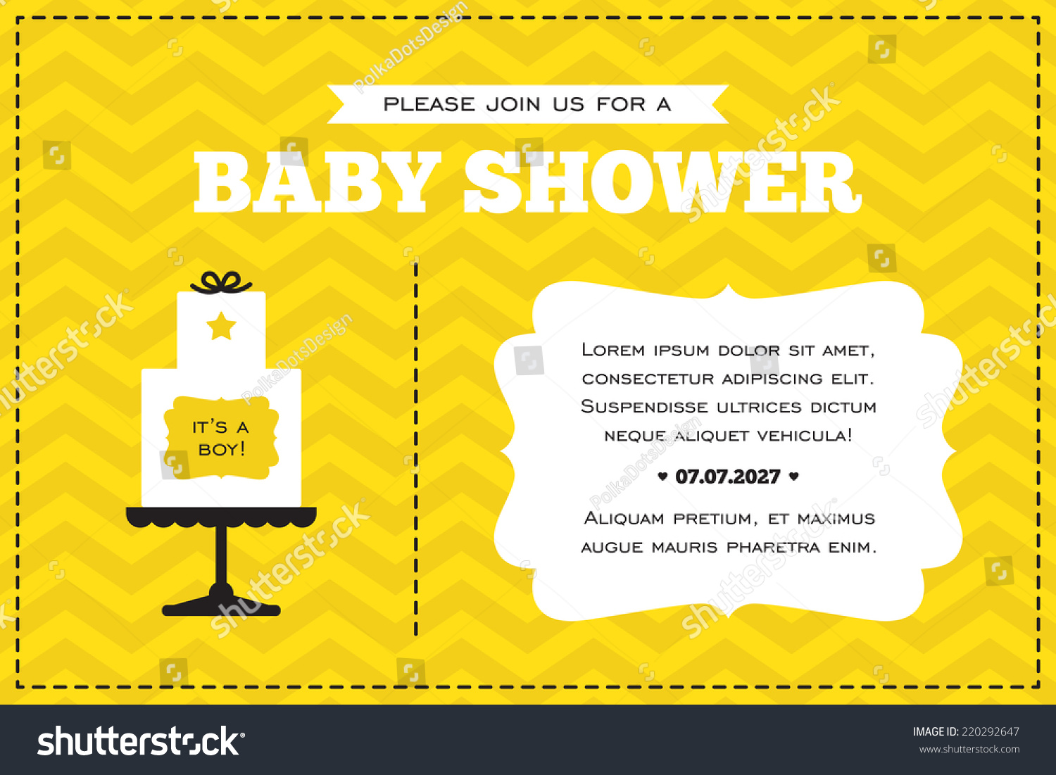 Baby Shower Invitation White Yellow Black Stock Vector 220292647 ...