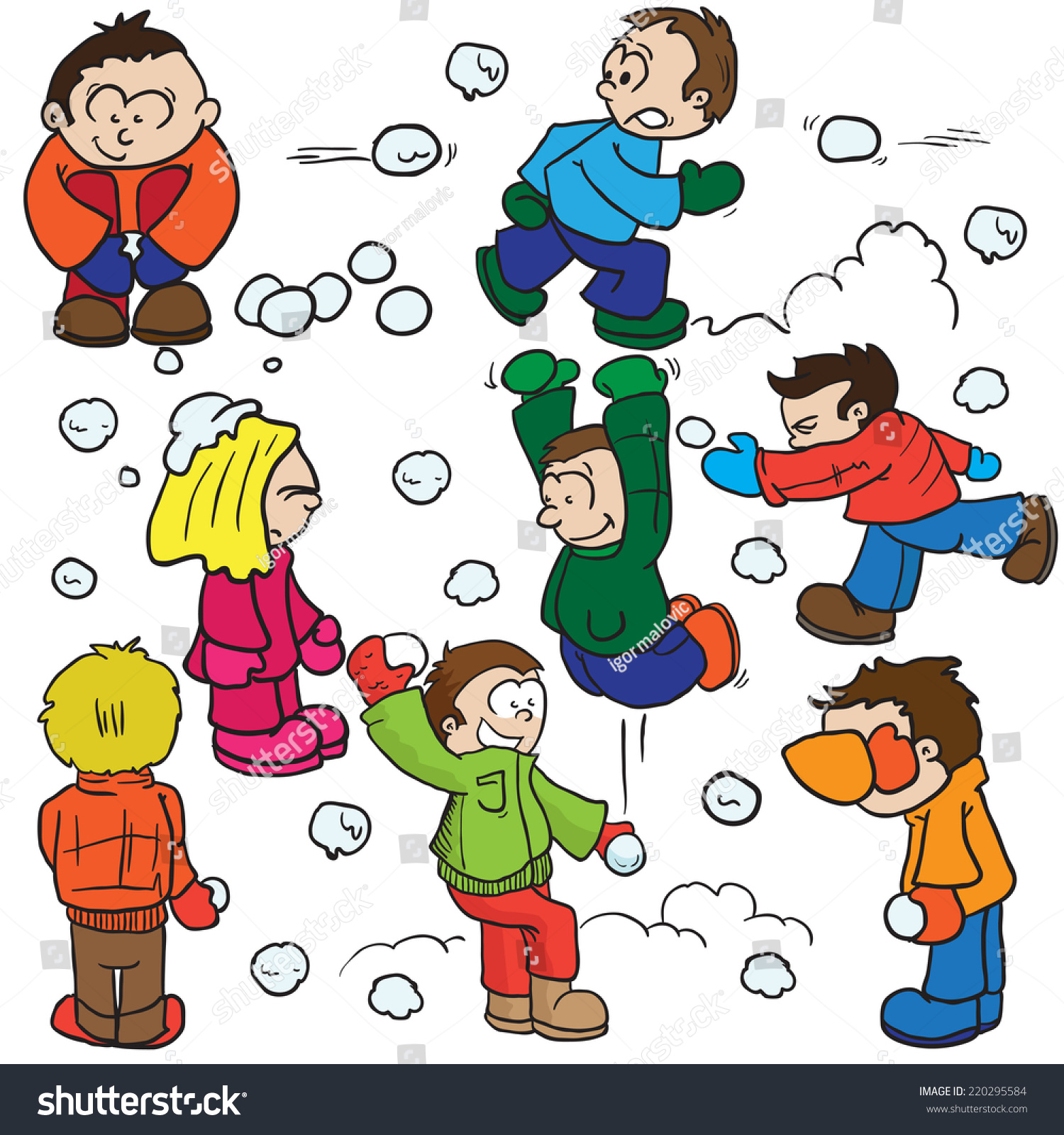 snowball fight cartoon illustration stock illustration 220295584