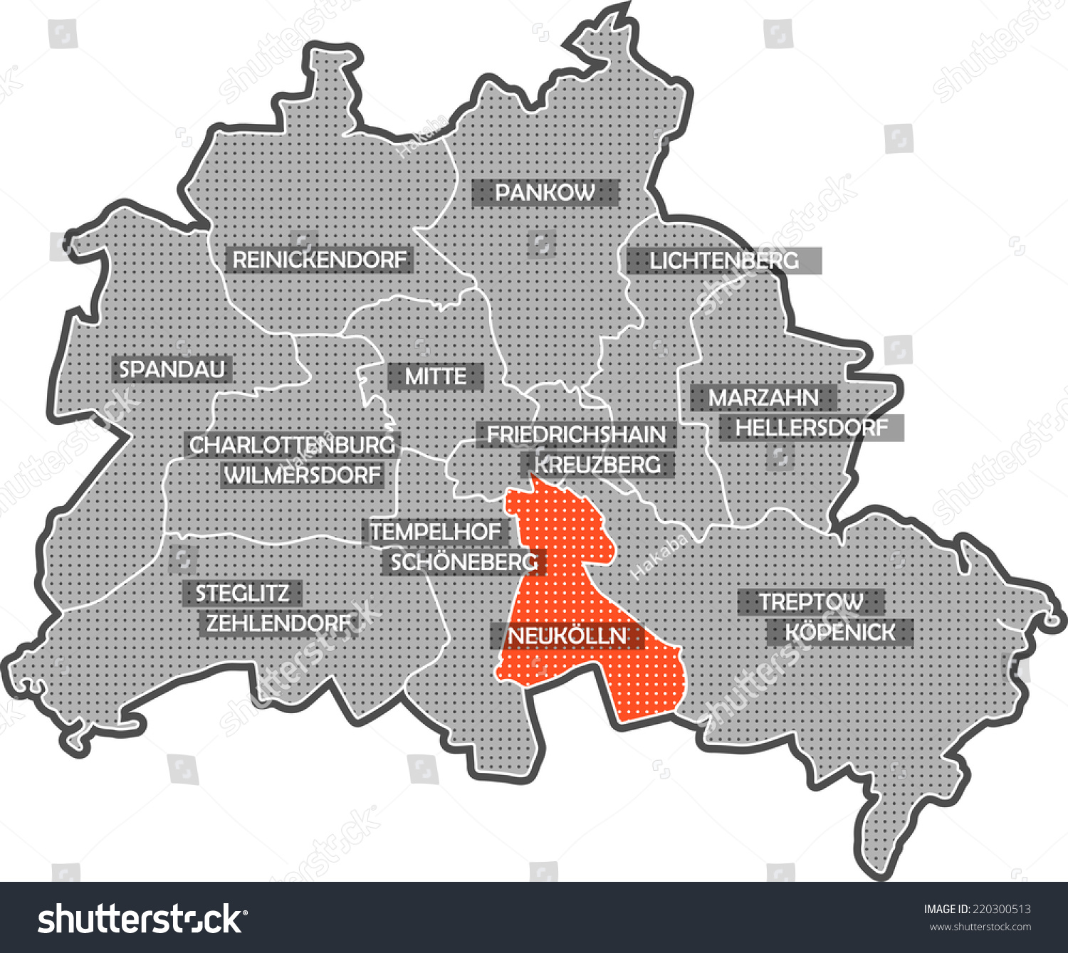 Map Berlin Districts Focus On District Stock Illustration ...
