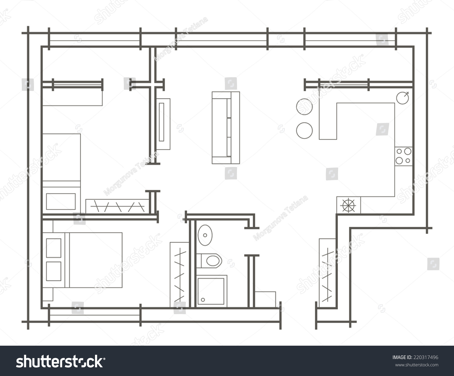Plan Sketch Of Two Bedroom Apartment