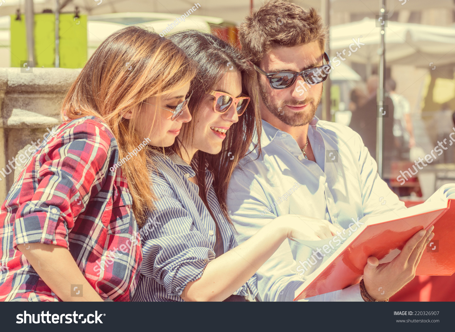 Group Students Two Girls One Boy Stock Photo 220326907