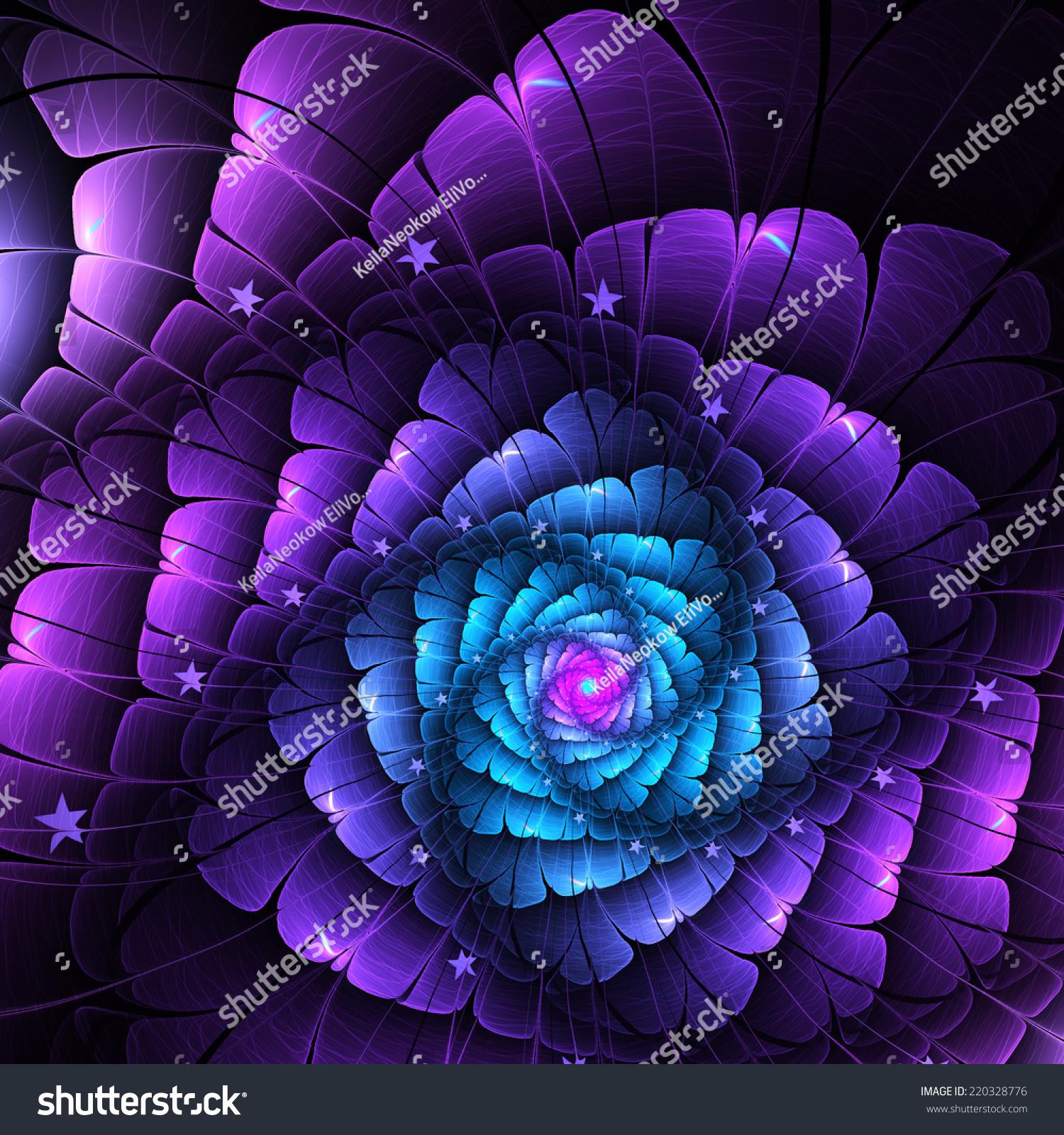 Fractal Black Flower Free Stock Photo: Dark Blue Purple Fractal Flower Digital Stock Illustration
