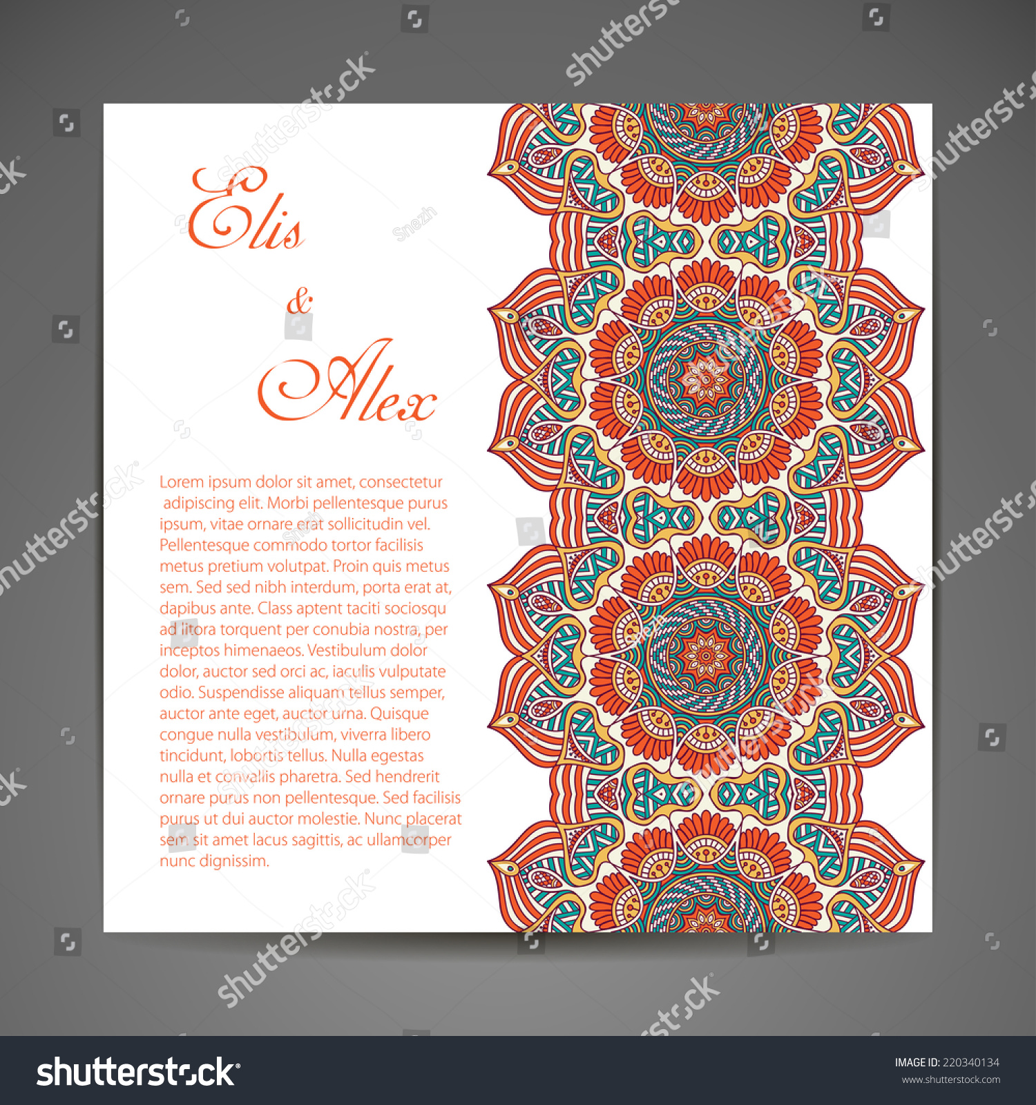 Card wedding invitation round ornament pattern stock vector card or wedding invitation round ornament pattern vintage decorative elements hand drawn background stopboris Images