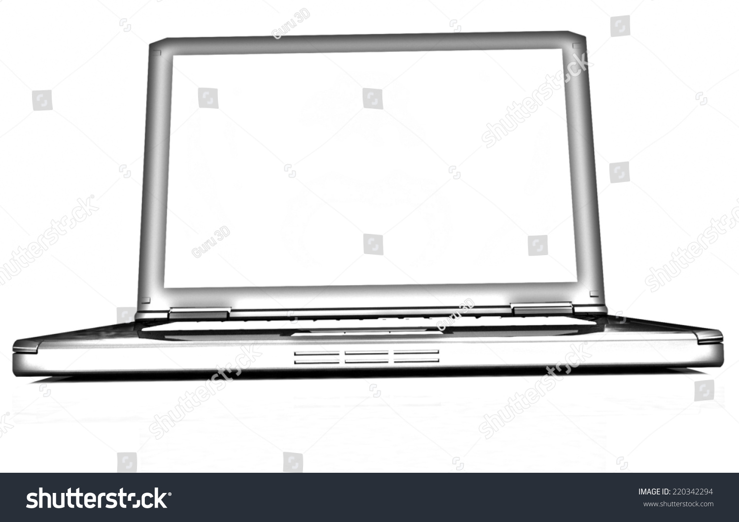 Laptop On White Background Pencil Drawing Stock Illustration ...