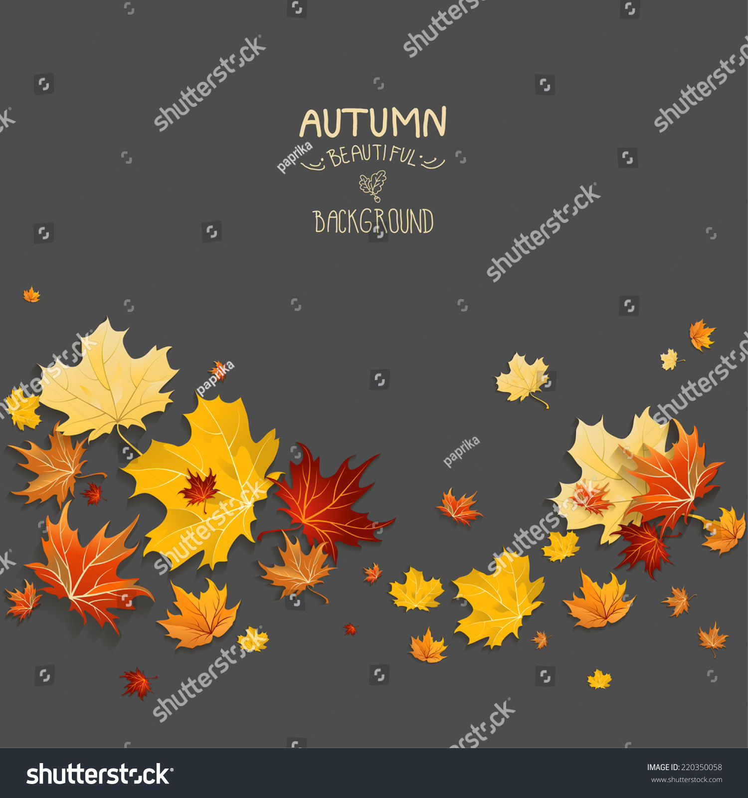 Autumn design on dark background Place for text