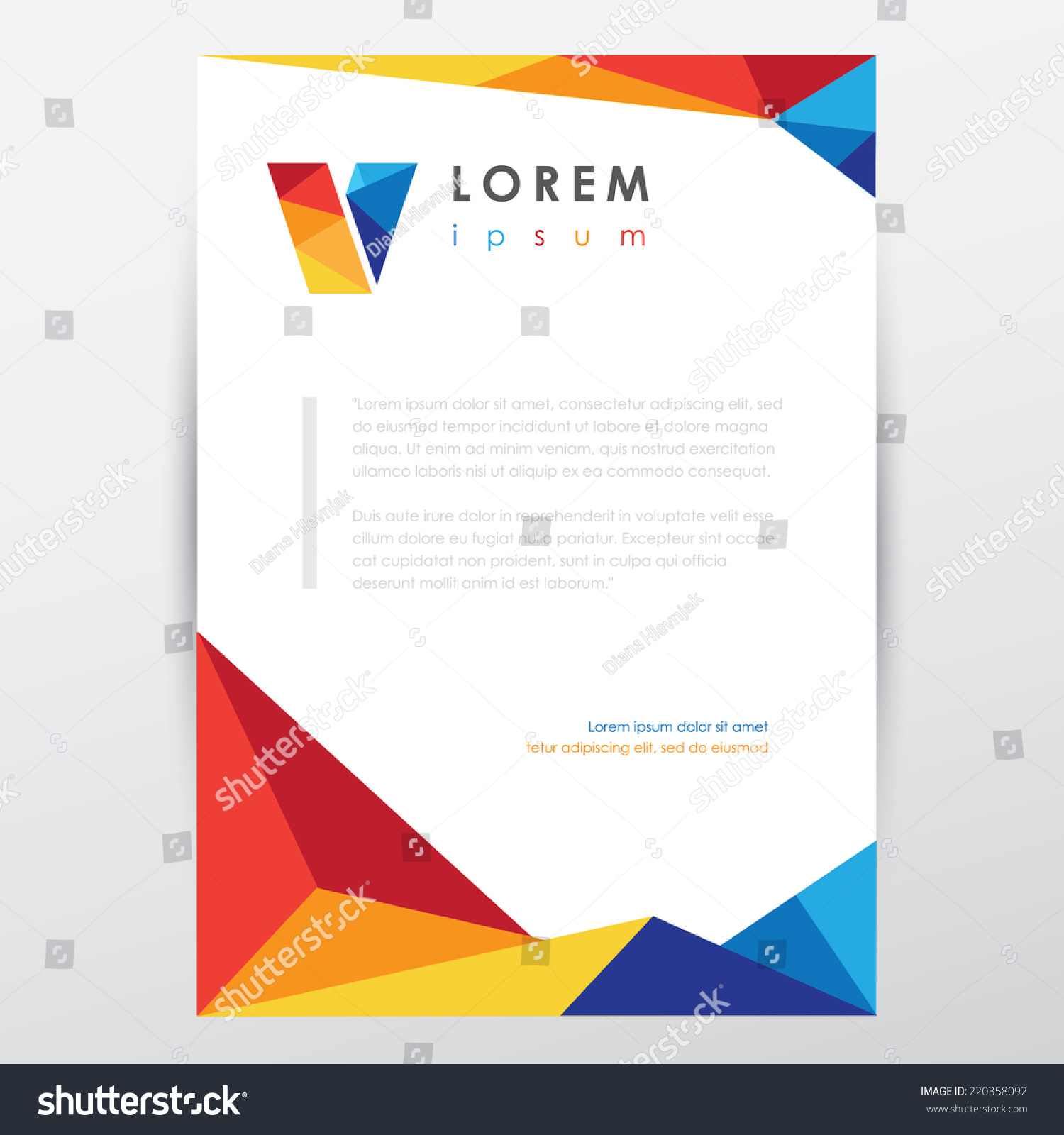 Multicolored letterhead document paper template trendy stock vector multicolored letterhead document paper template in trendy low poly style for business visual identity wajeb Images