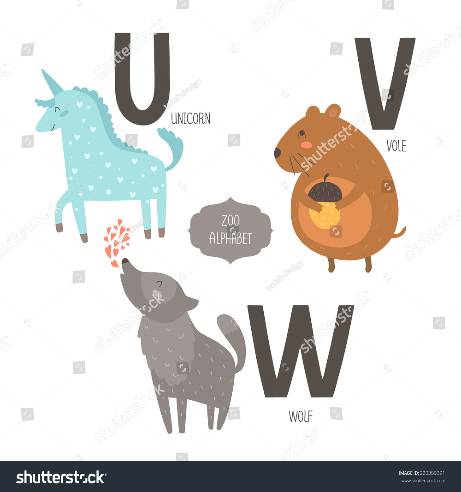animals that start with the letter u vector zoo alphabet animals stock vector 45747