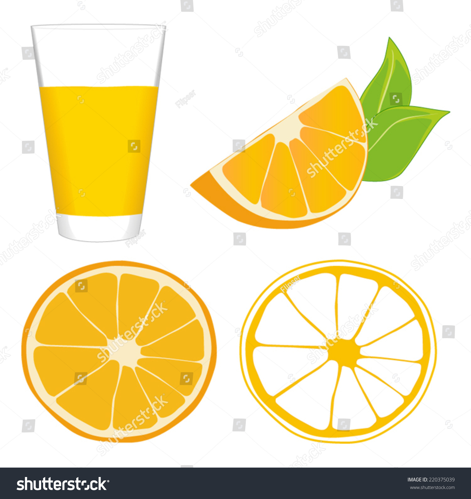 Glass Orange Juice Slice Orange Wedge Stock Vector ...