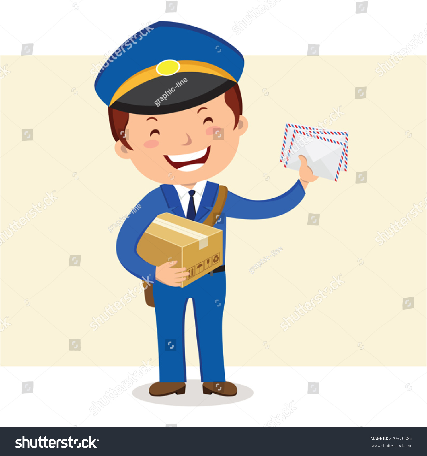 Cheerful Postman Friendly Postman Blue Uniform Stock ...